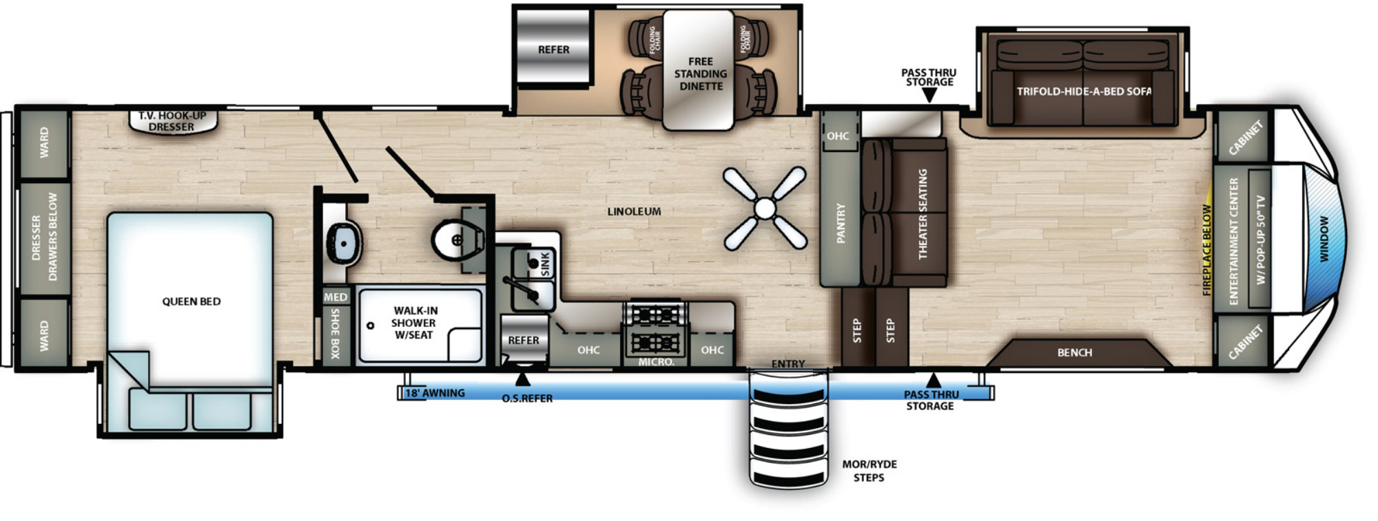 View Floor Plan for 2021 FOREST RIVER SIERRA C-CLASS 3550FL
