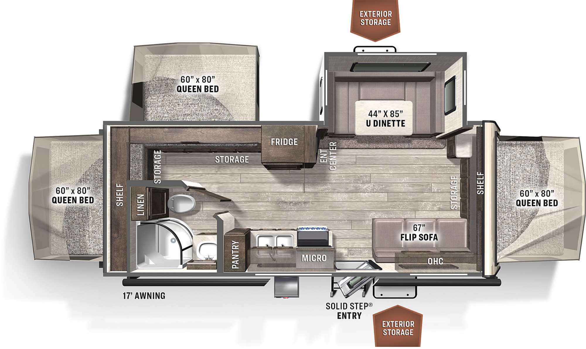 View Floor Plan for 2021 FOREST RIVER ROCKWOOD ROO 233S