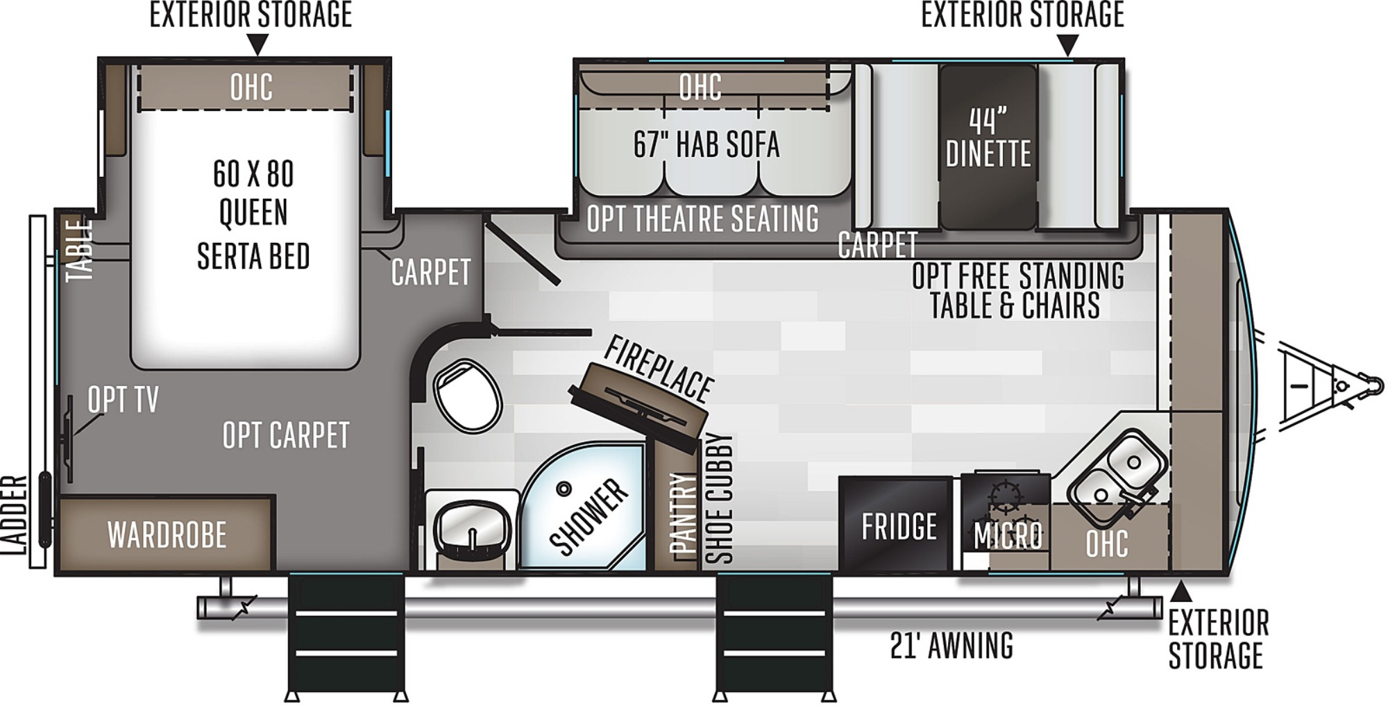 View Floor Plan for 2021 FOREST RIVER ROCKWOOD ULTRA LITE 2608BS