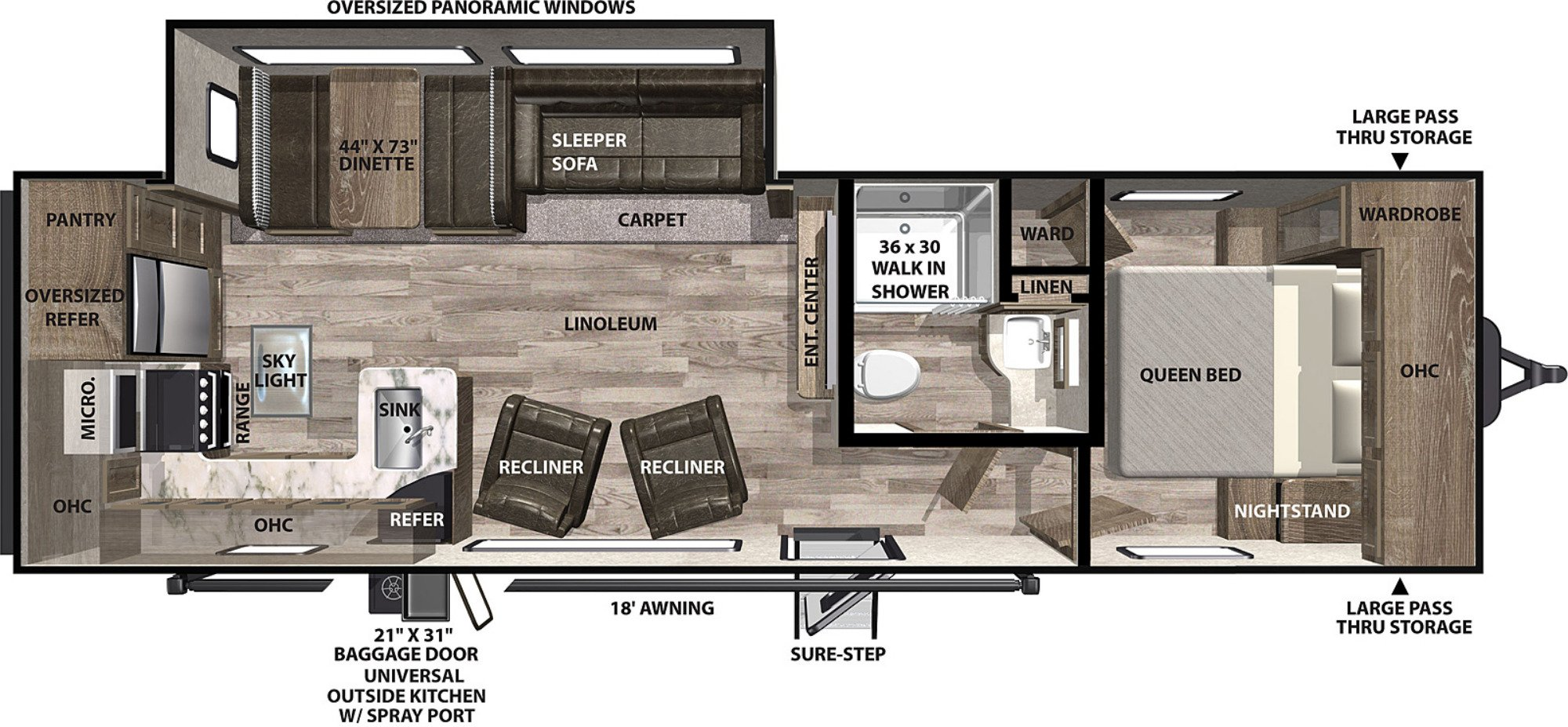 View Floor Plan for 2021 FOREST RIVER VIBE 26RK
