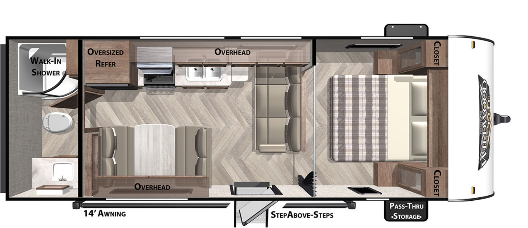 View Floor Plan for 2021 FOREST RIVER WILDWOOD X-LITE 241QBXL