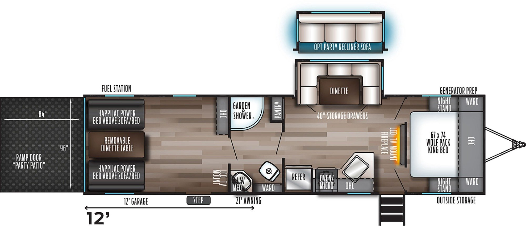 View Floor Plan for 2021 FOREST RIVER WOLF PACK 25PACK12