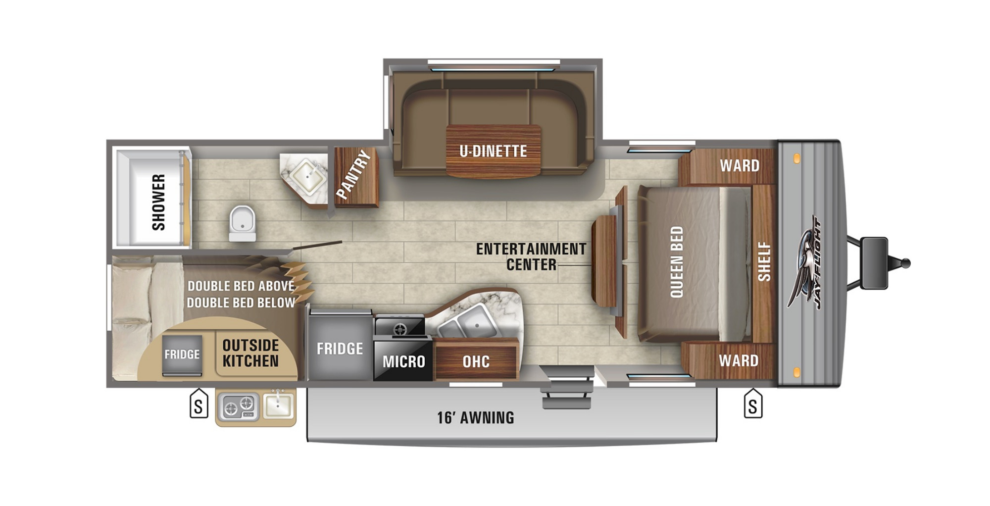 View Floor Plan for 2021 JAYCO JAY FLIGHT SLX 242BHS