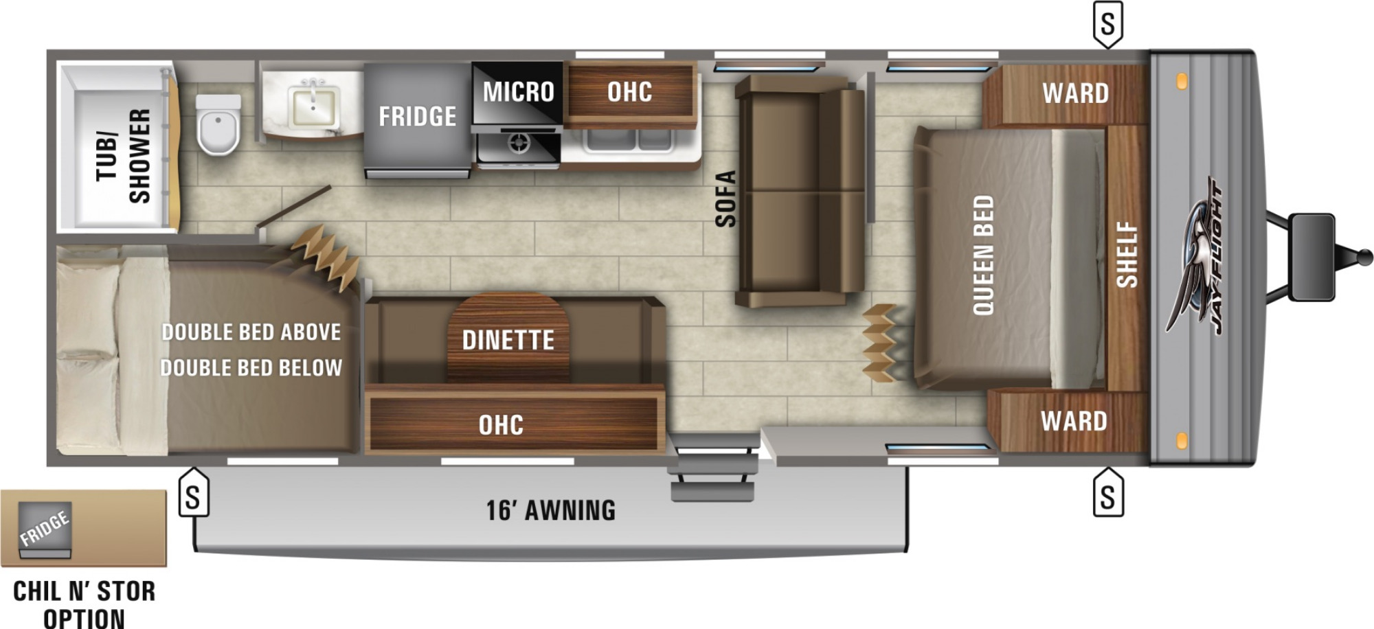 View Floor Plan for 2021 JAYCO JAY FLIGHT SLX 264BH