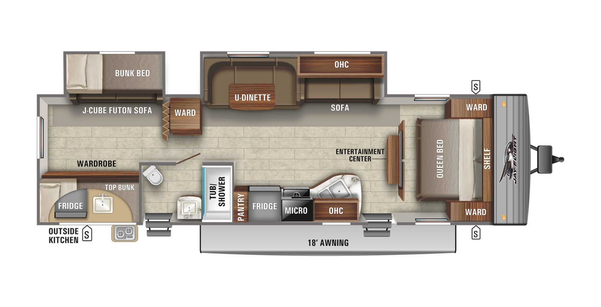 View Floor Plan for 2021 JAYCO JAY FLIGHT SLX 324BDS