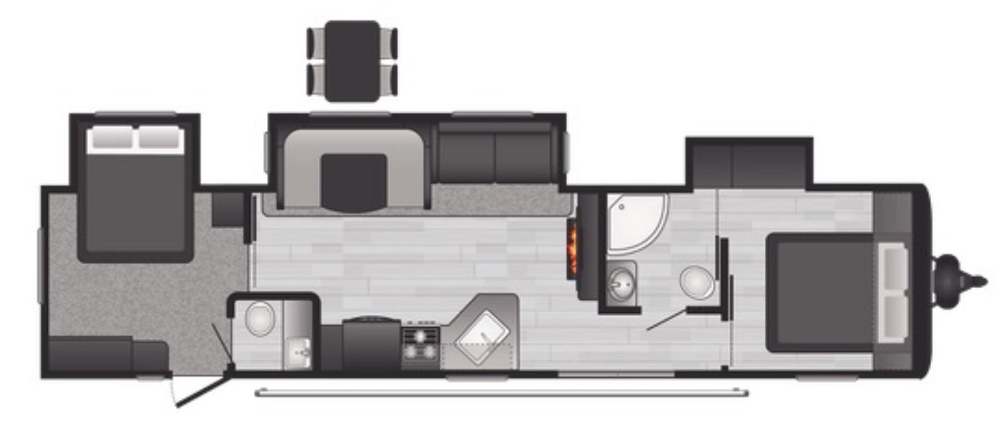 View Floor Plan for 2021 KEYSTONE HIDEOUT 38FQTS