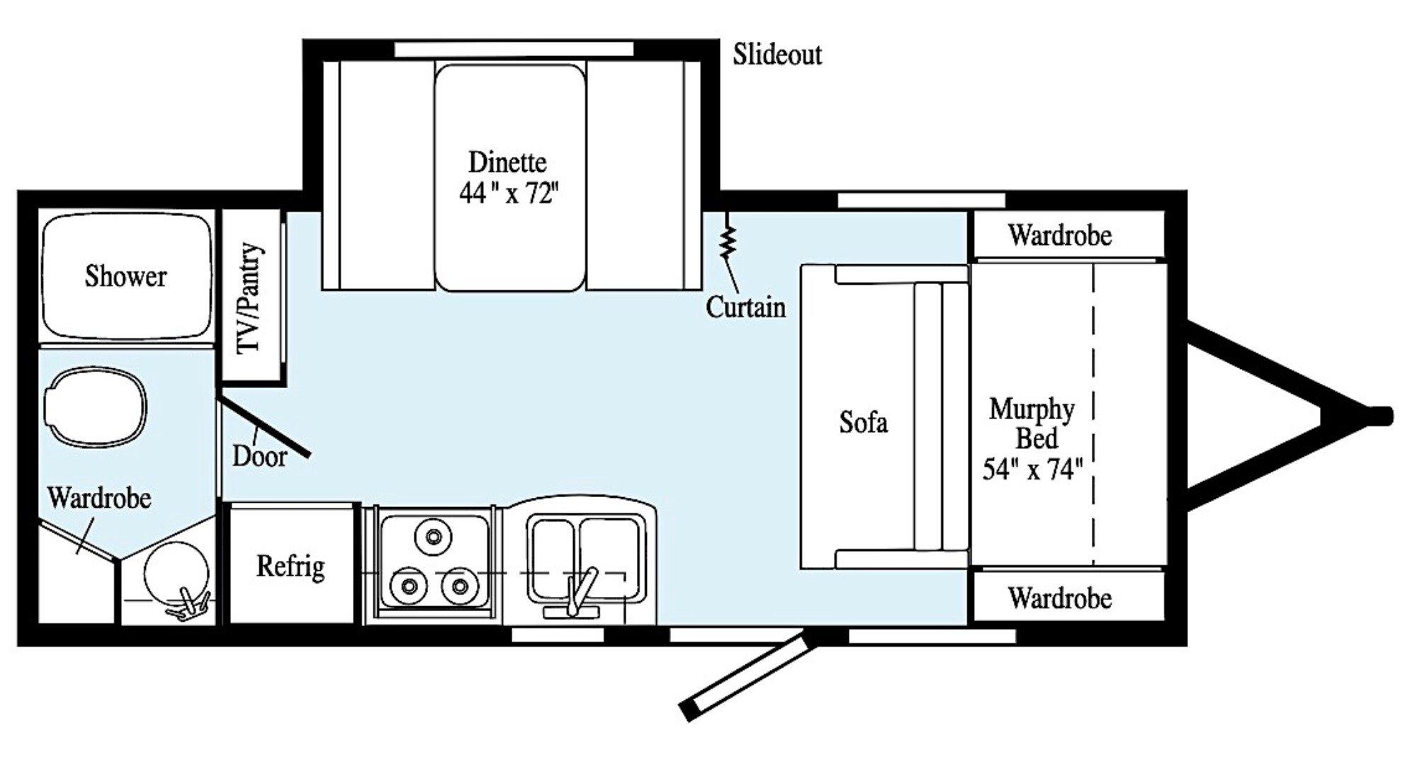View Floor Plan for 2021 WINNEBAGO MICRO MINNIE 2108DS