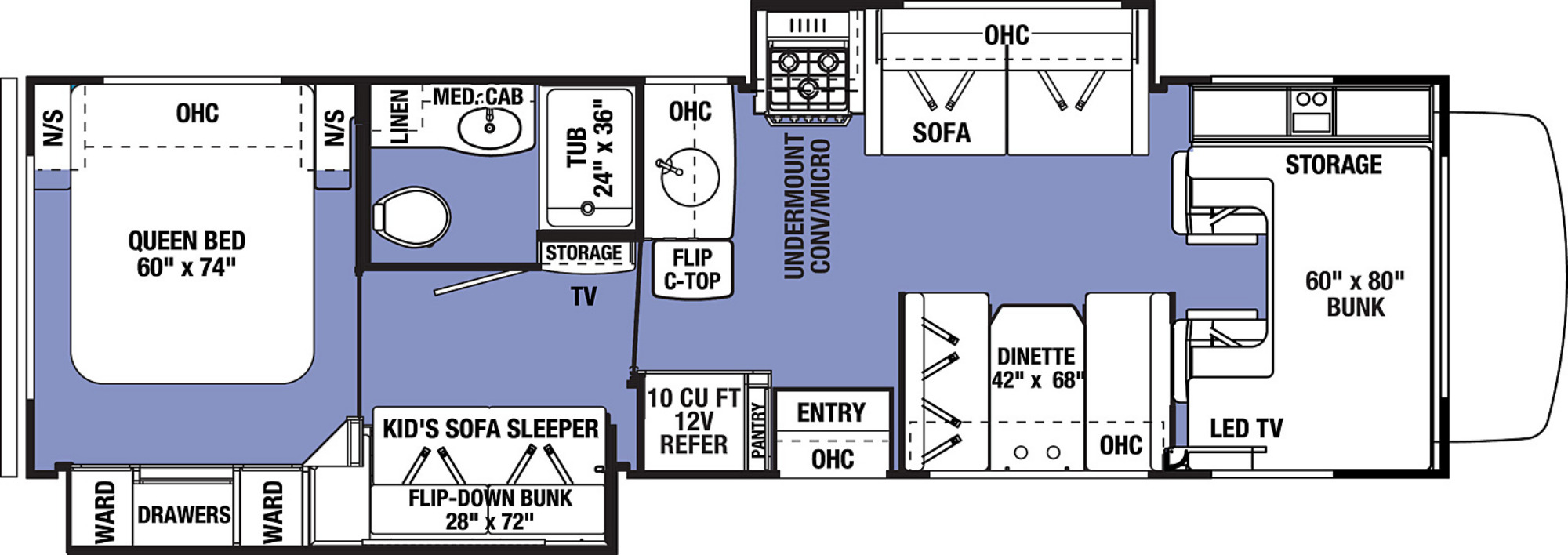 View Floor Plan for 2020 FOREST RIVER SUNSEEKER LE 3250DSF