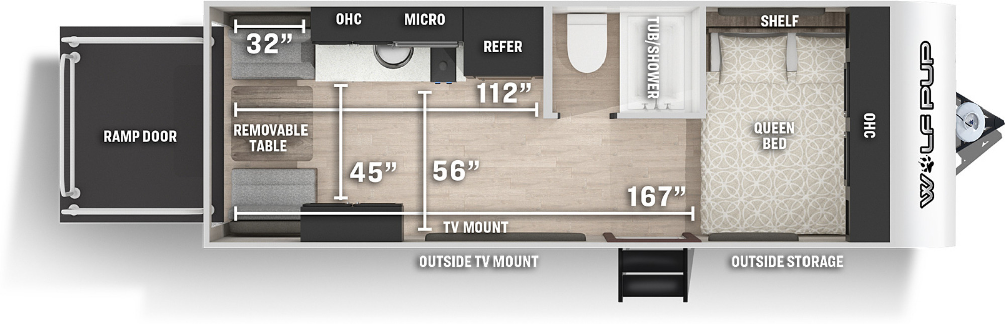 View Floor Plan for 2021 FOREST RIVER WOLF PUP 18RJB