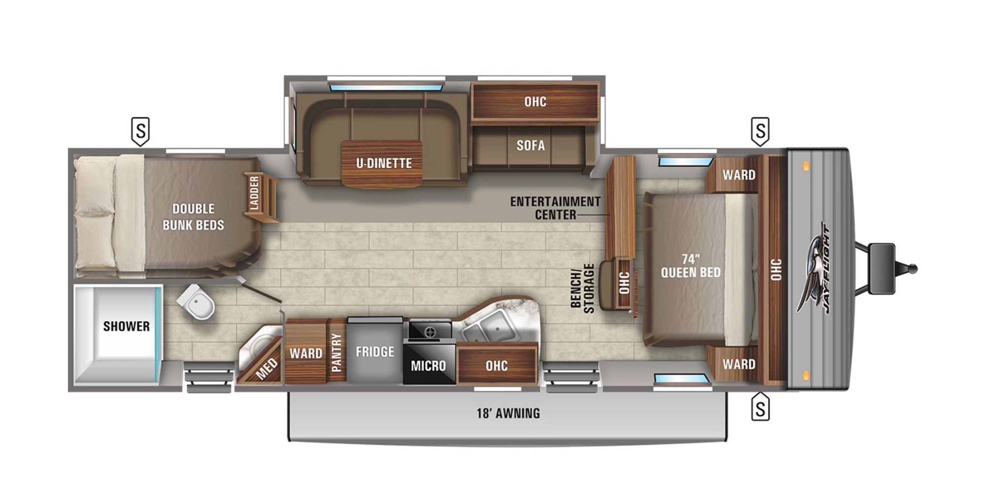 View Floor Plan for 2021 JAYCO JAY FLIGHT 28BHBE