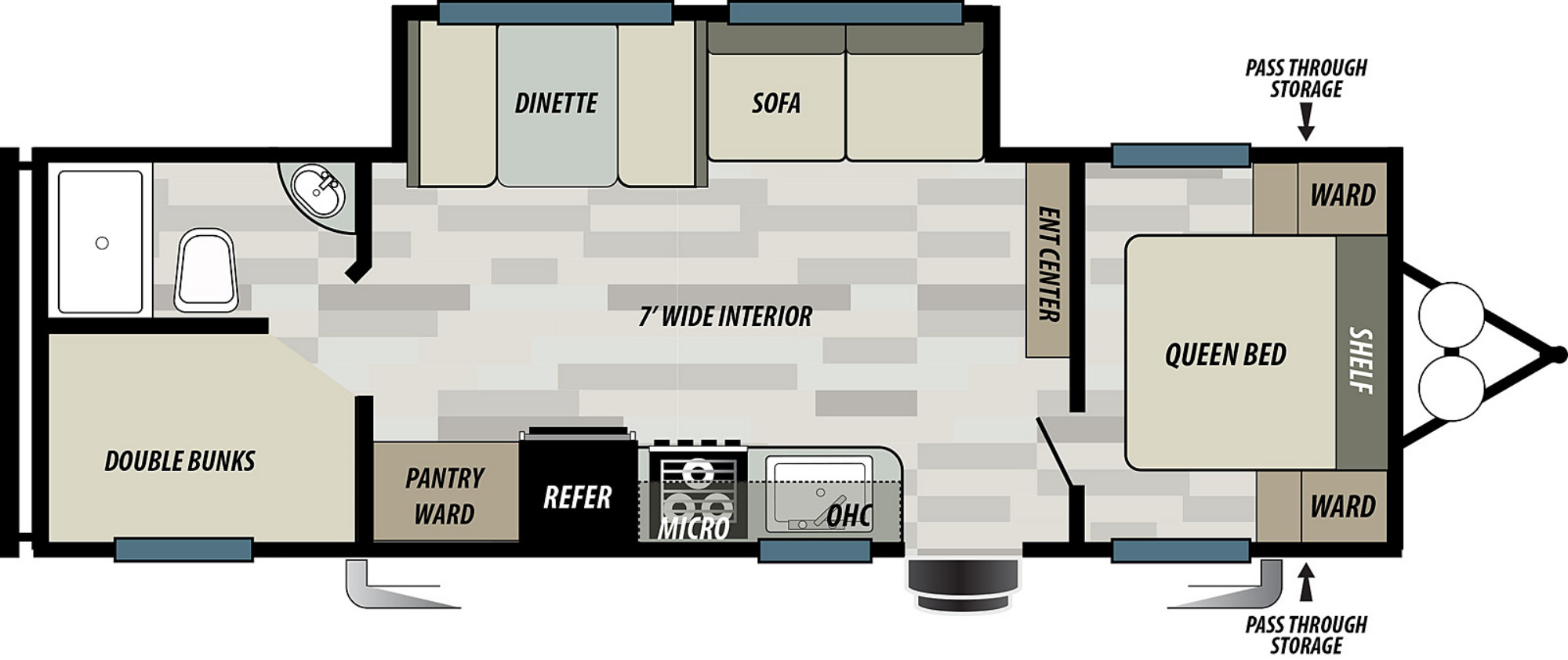View Floor Plan for 2021 FOREST RIVER EVO SELECT 267SS