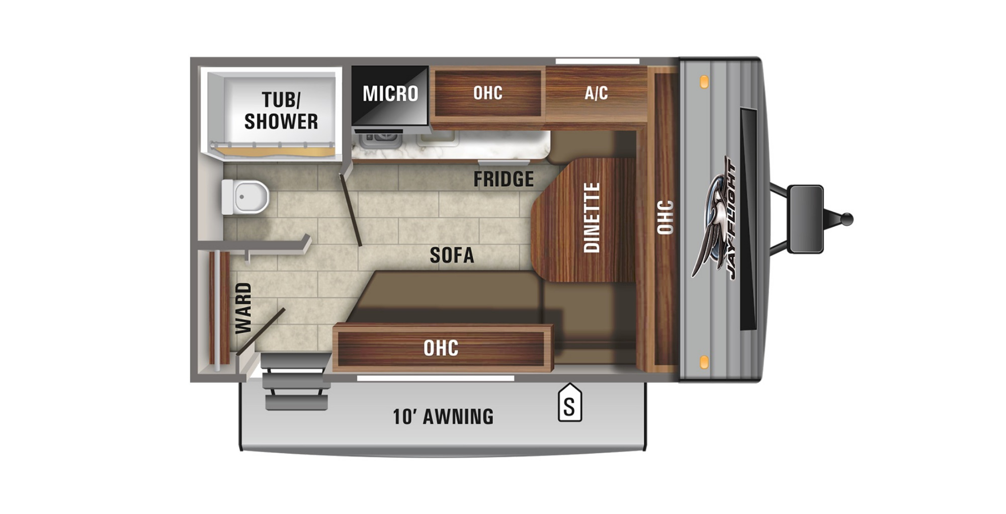 View Floor Plan for 2021 JAYCO JAY FLIGHT SLX 145RBW