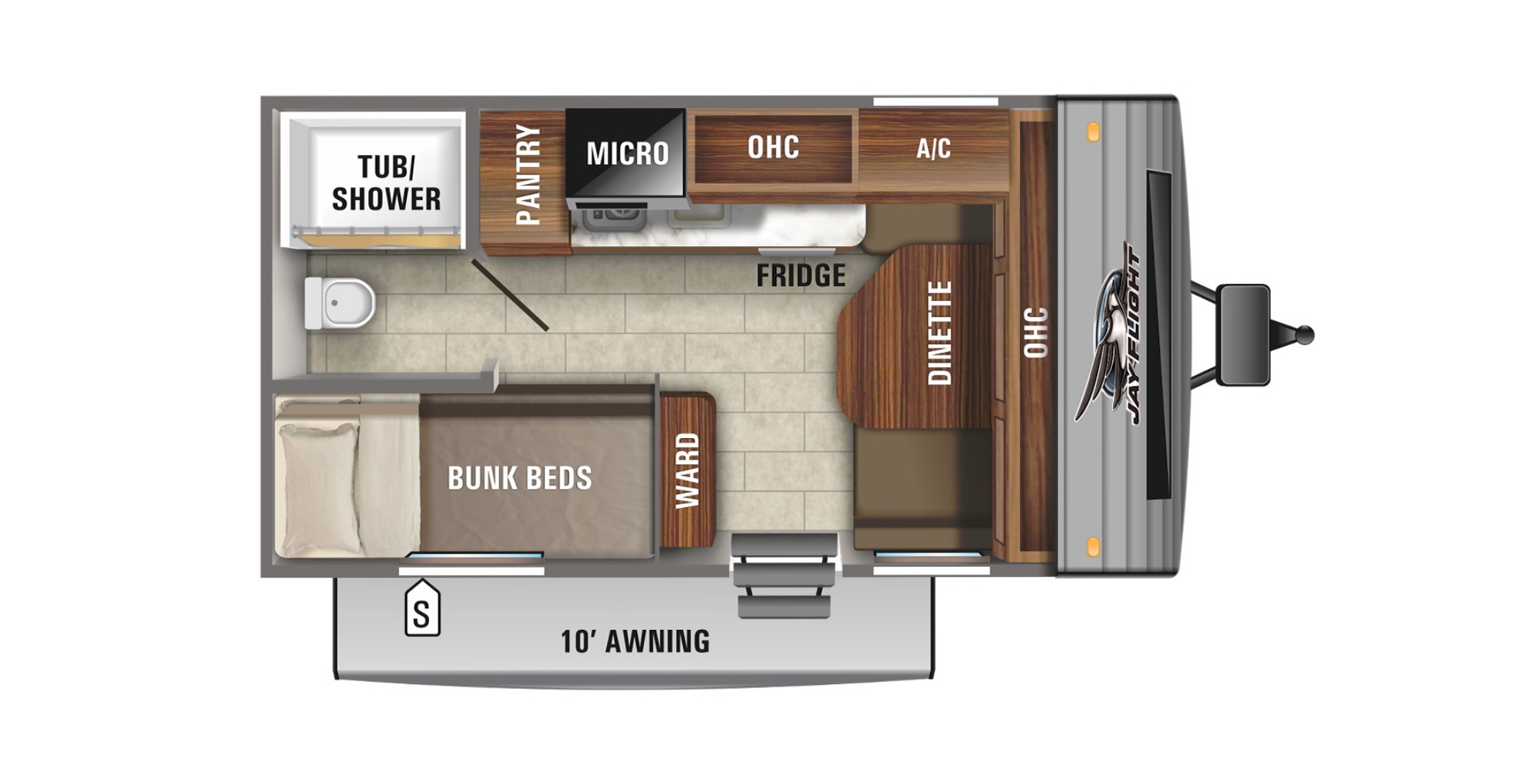 View Floor Plan for 2021 JAYCO JAY FLIGHT SLX 154BHW