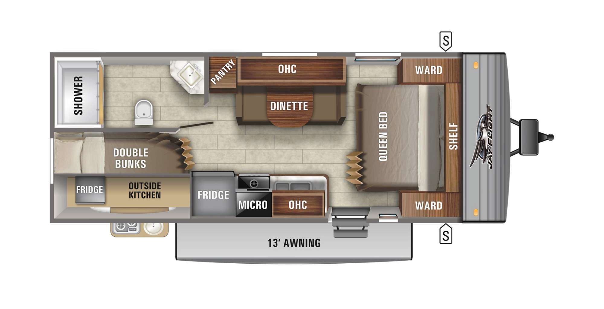 View Floor Plan for 2021 JAYCO JAY FLIGHT SLX 224BH