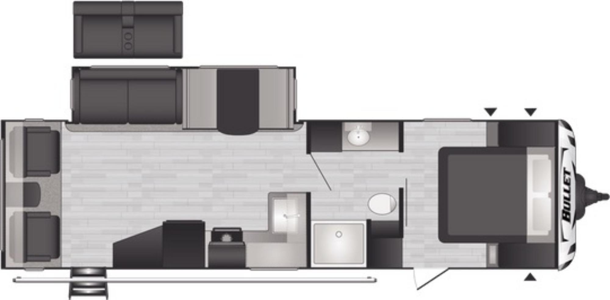 View Floor Plan for 2021 KEYSTONE BULLET 291RLSWE