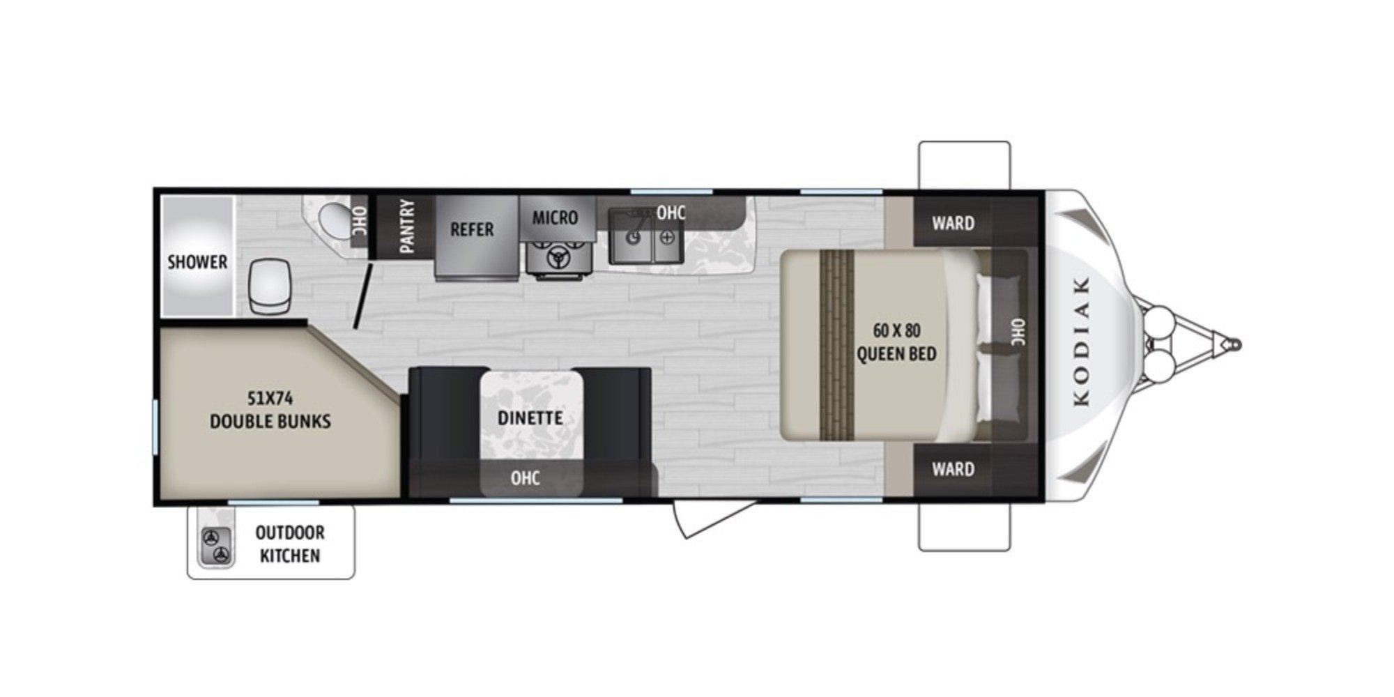 View Floor Plan for 2021 DUTCHMEN KODIAK 227BH