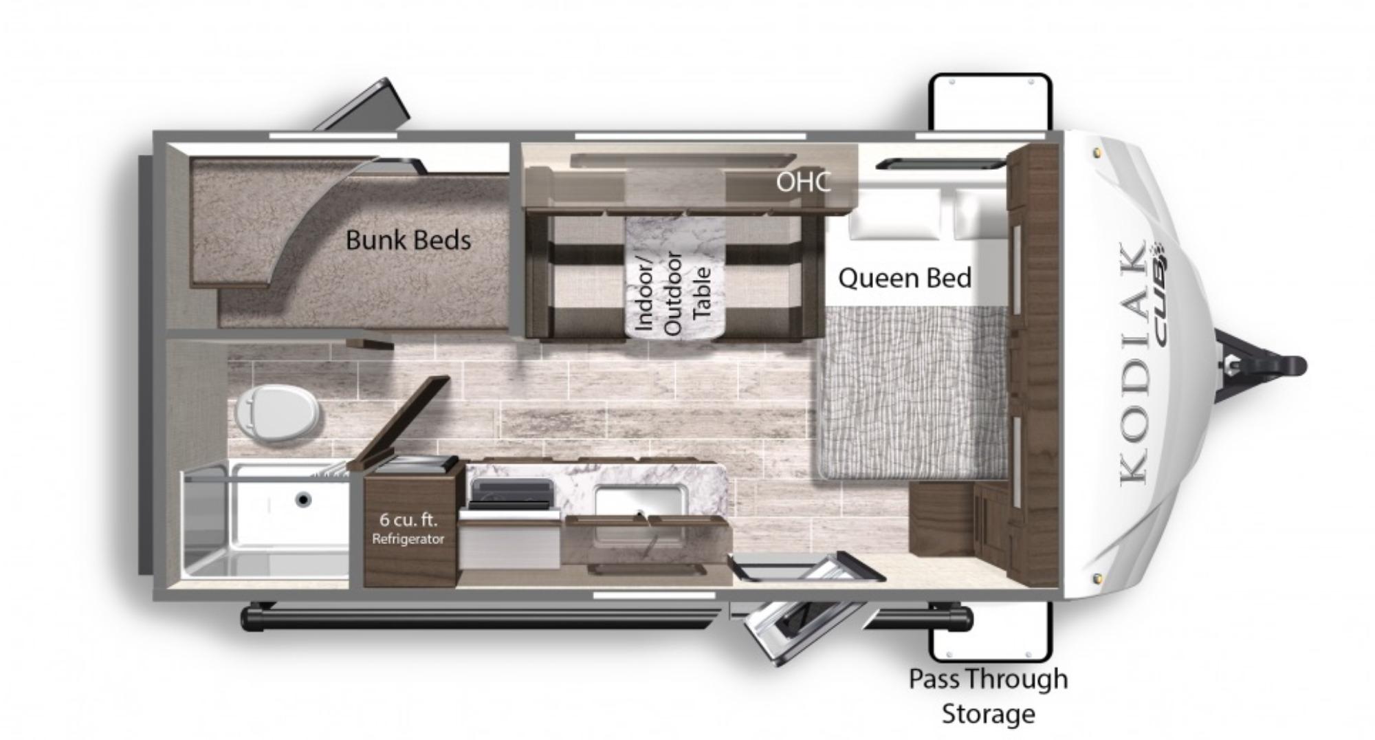 View Floor Plan for 2021 DUTCHMEN KODIAK CUB 175BH
