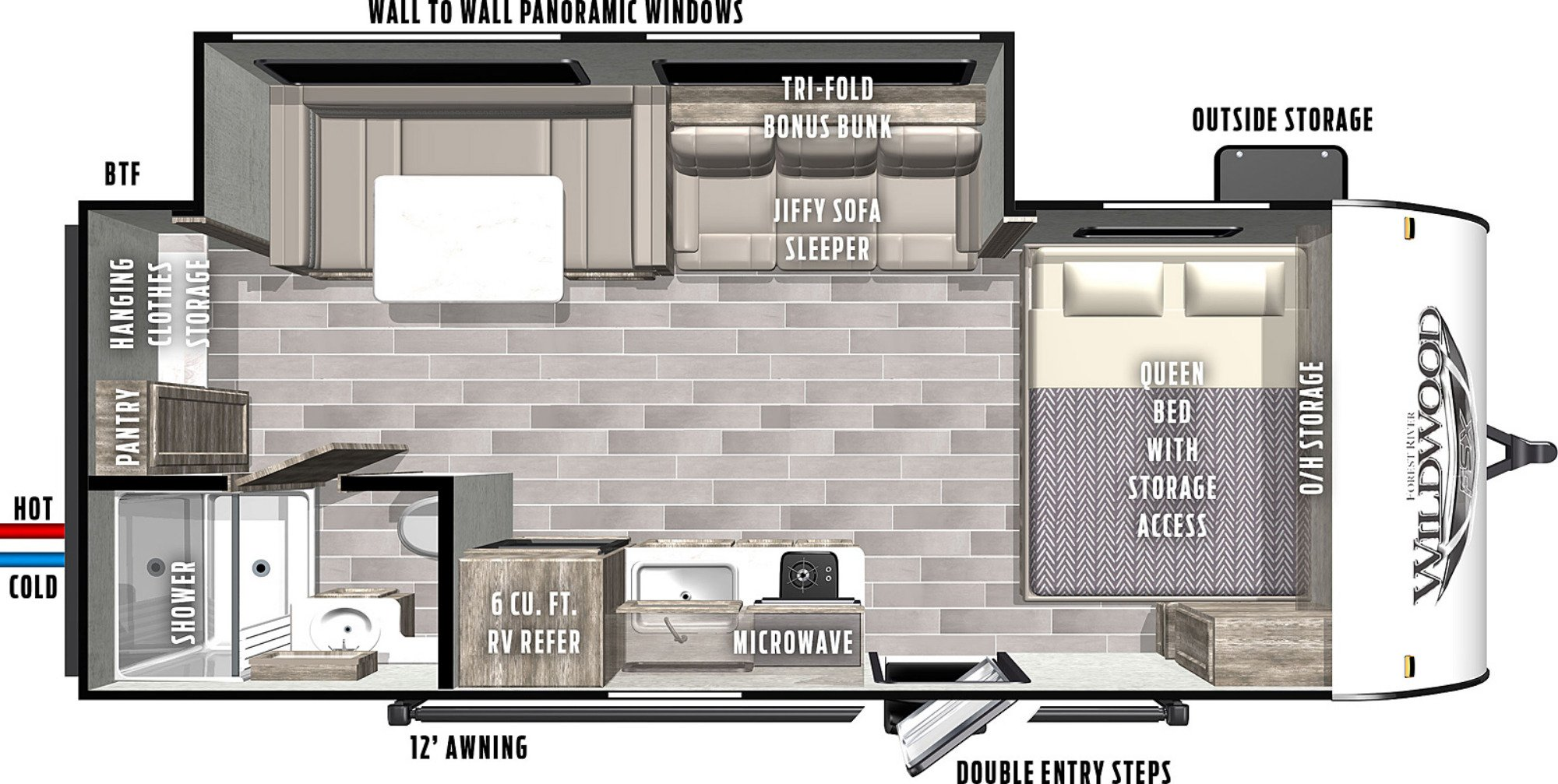 View Floor Plan for 2021 FOREST RIVER WILDWOOD FSX 170SSX