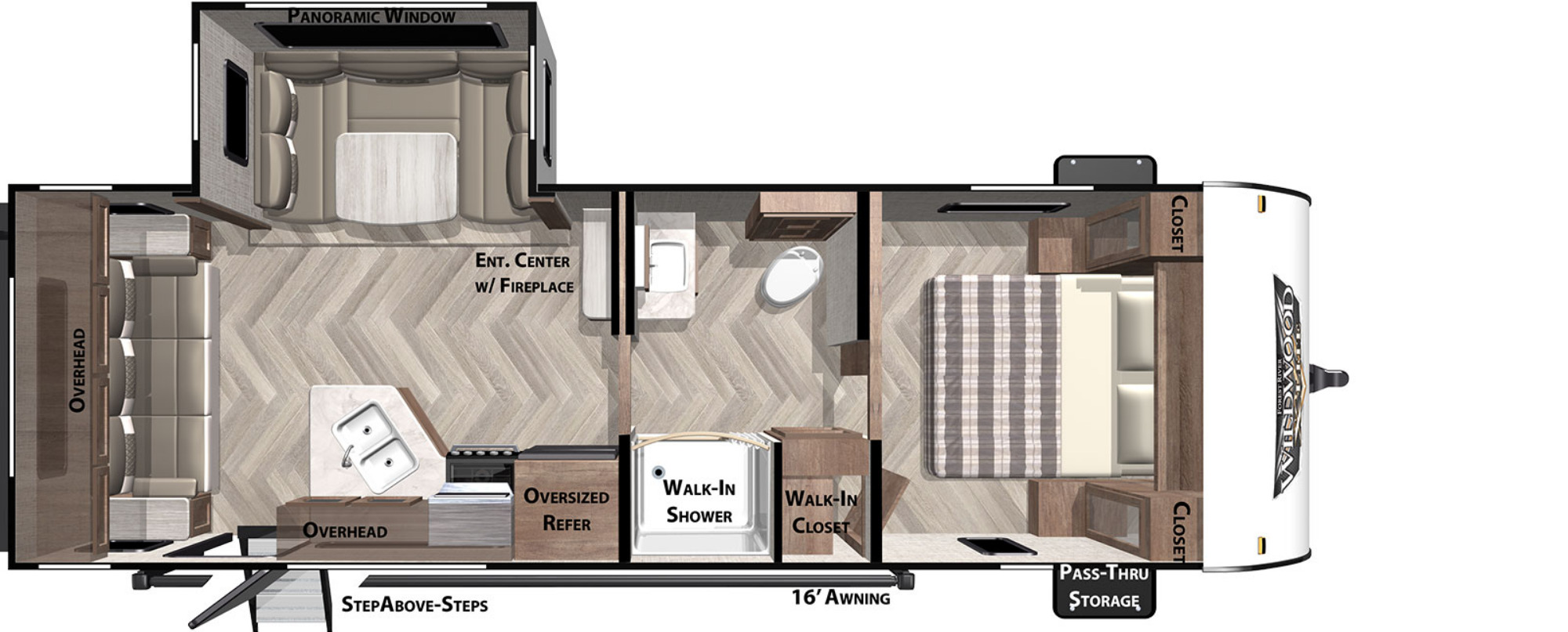 View Floor Plan for 2021 FOREST RIVER WILDWOOD X-LITE 24RLXL