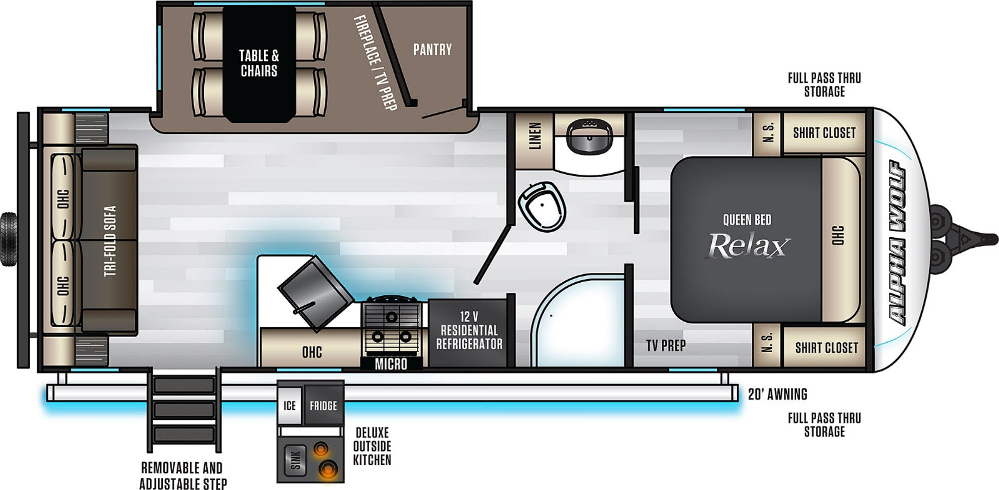 View Floor Plan for 2021 FOREST RIVER ALPHA WOLF 23RD-L