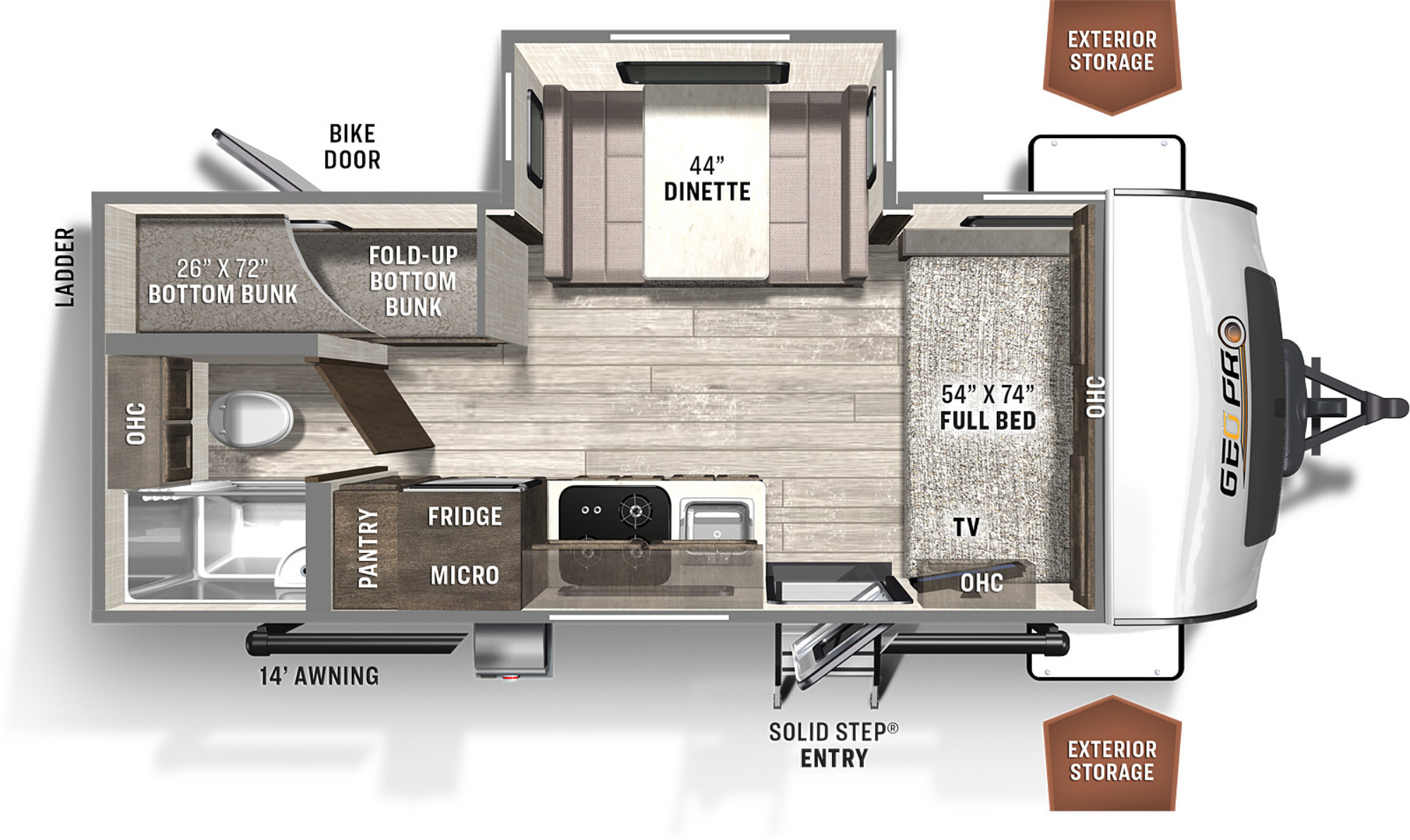 View Floor Plan for 2021 FOREST RIVER ROCKWOOD GEO-PRO 20BHS