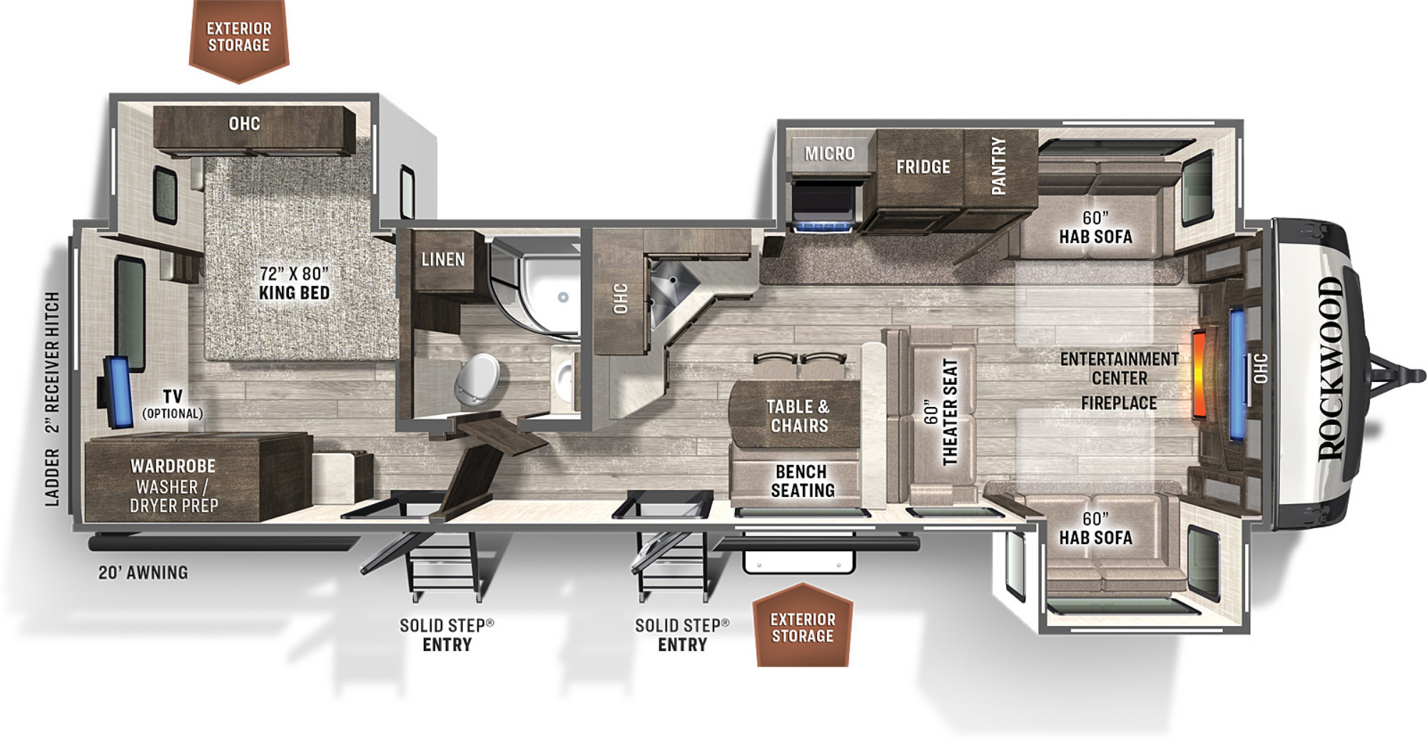 View Floor Plan for 2021 FOREST RIVER ROCKWOOD SIGNATURE ULTRA LITE 8324SB