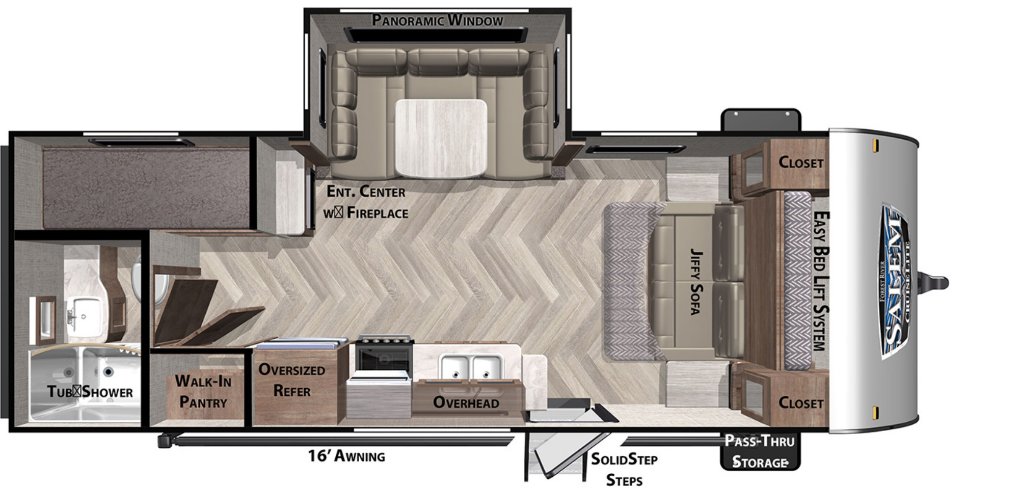 View Floor Plan for 2021 FOREST RIVER SALEM CRUISE LITE 230BHXL