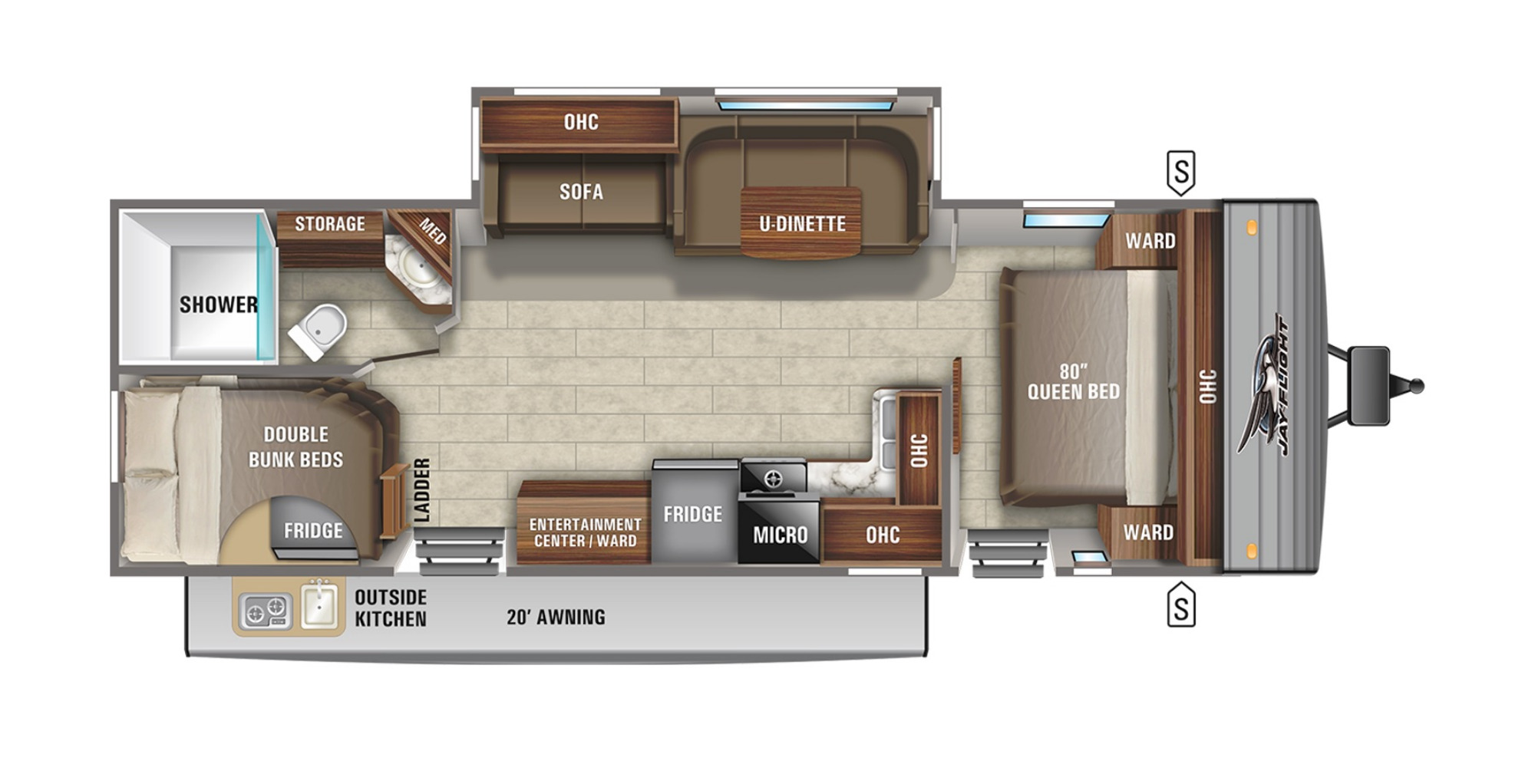 View Floor Plan for 2021 JAYCO JAY FLIGHT 28BHS