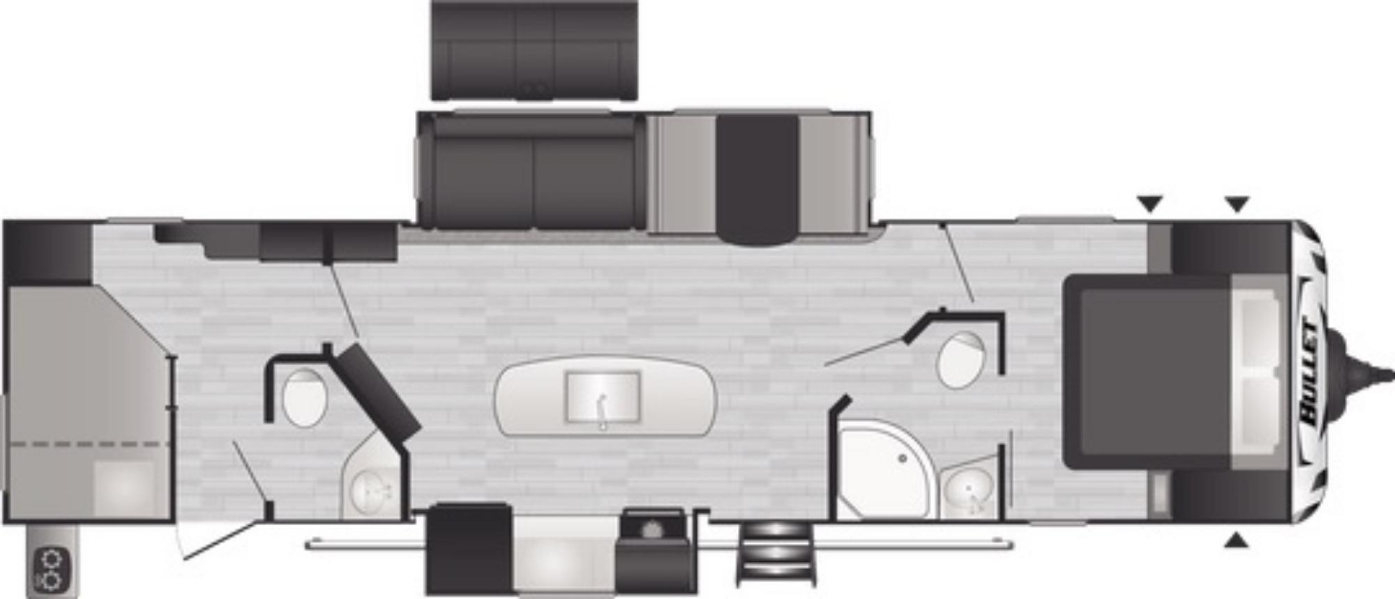 View Floor Plan for 2021 KEYSTONE BULLET 330BHS