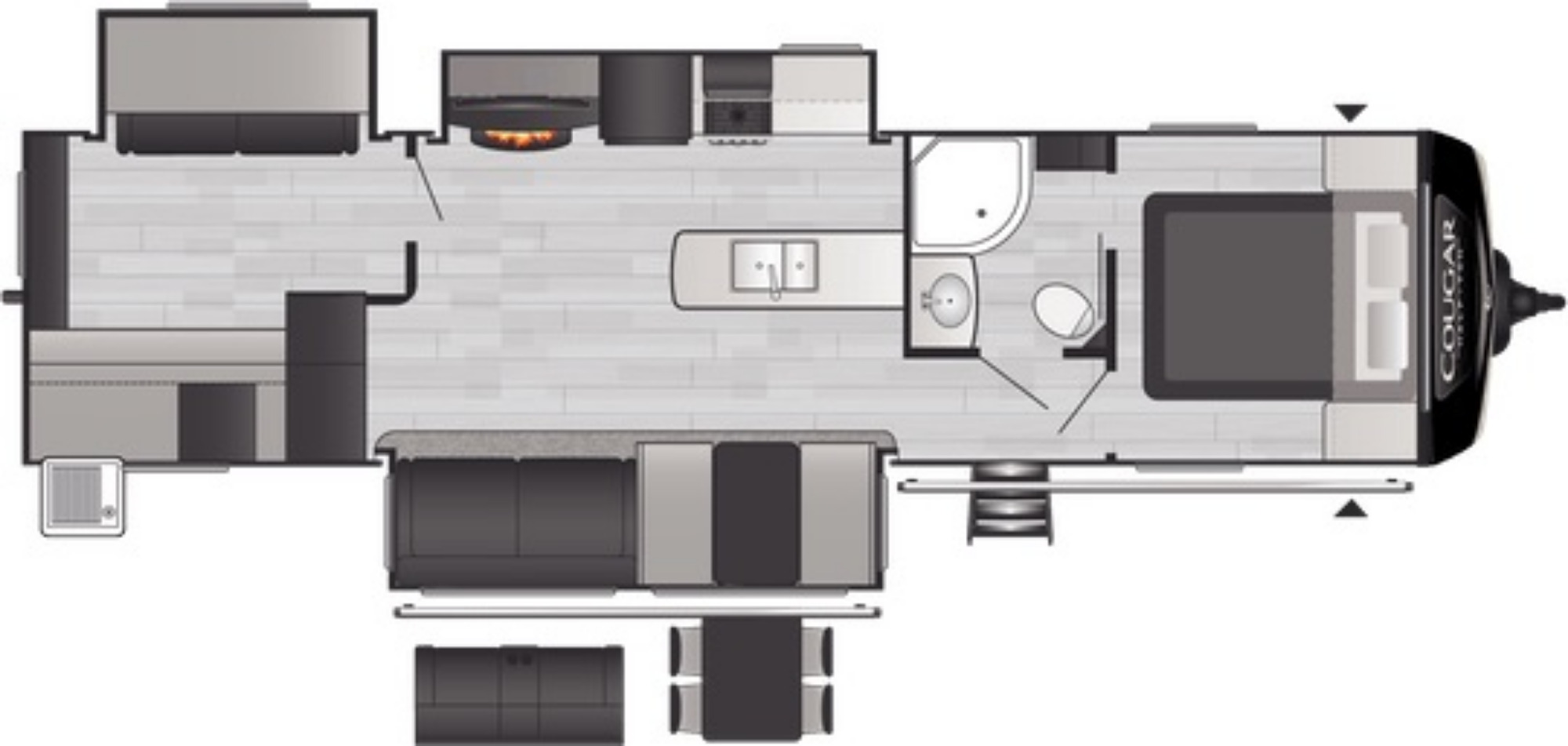 View Floor Plan for 2021 KEYSTONE COUGAR 34TSB
