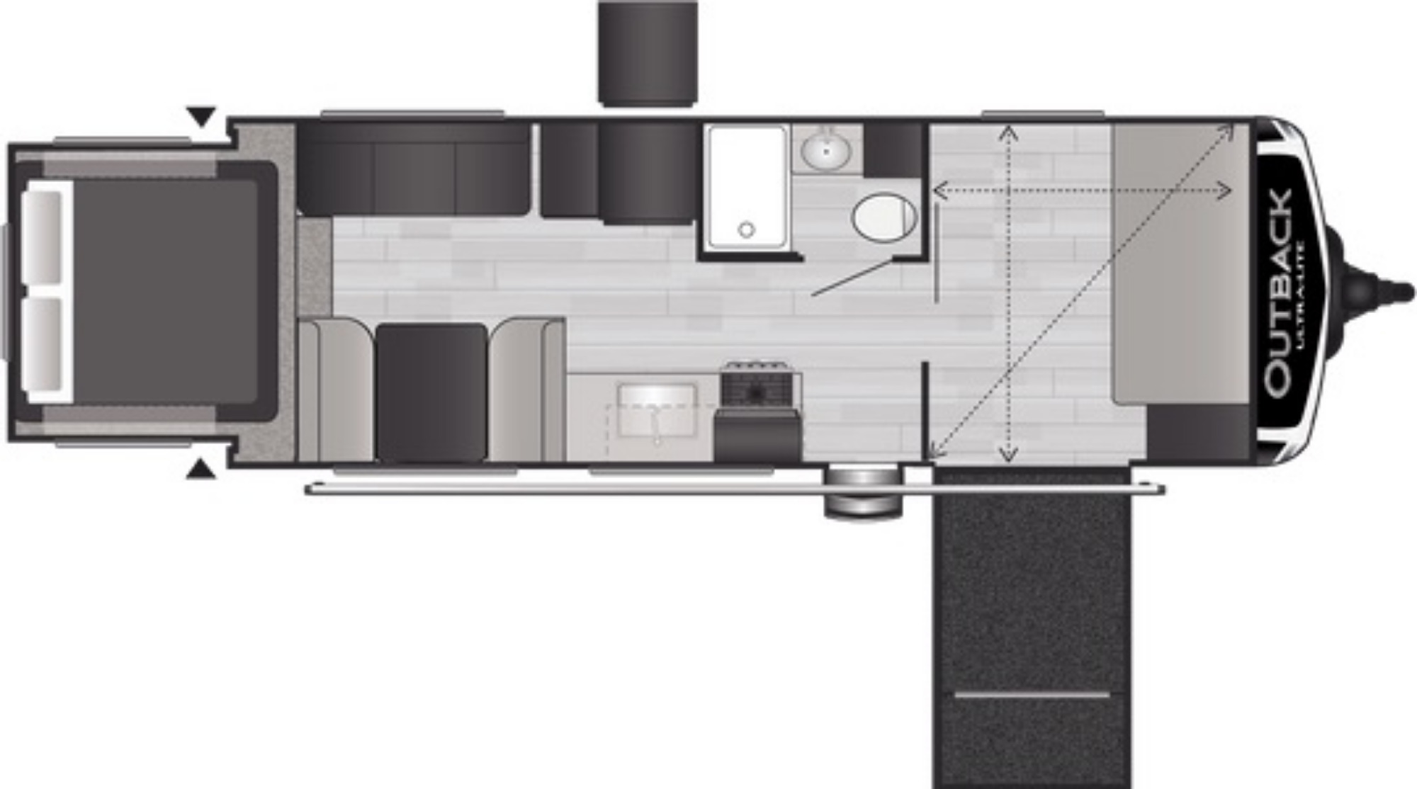View Floor Plan for 2021 KEYSTONE OUTBACK ULTRA-LITE 240URS