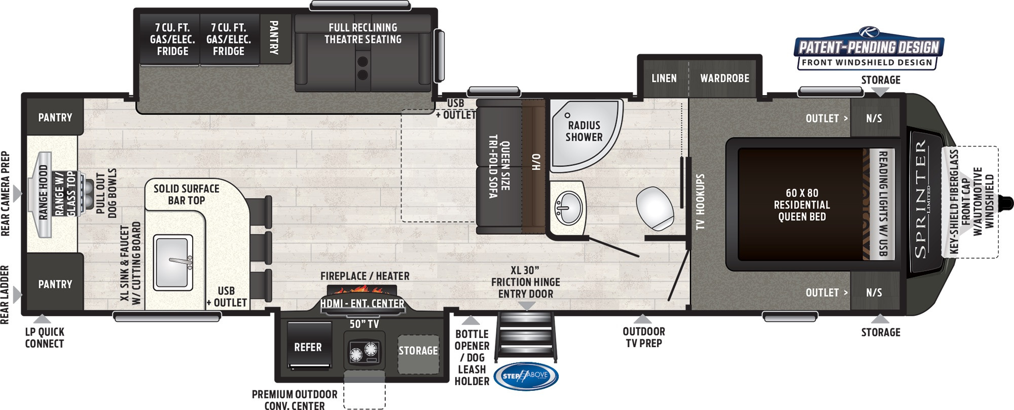 View Floor Plan for 2021 KEYSTONE SPRINTER LIMITED 320MLS