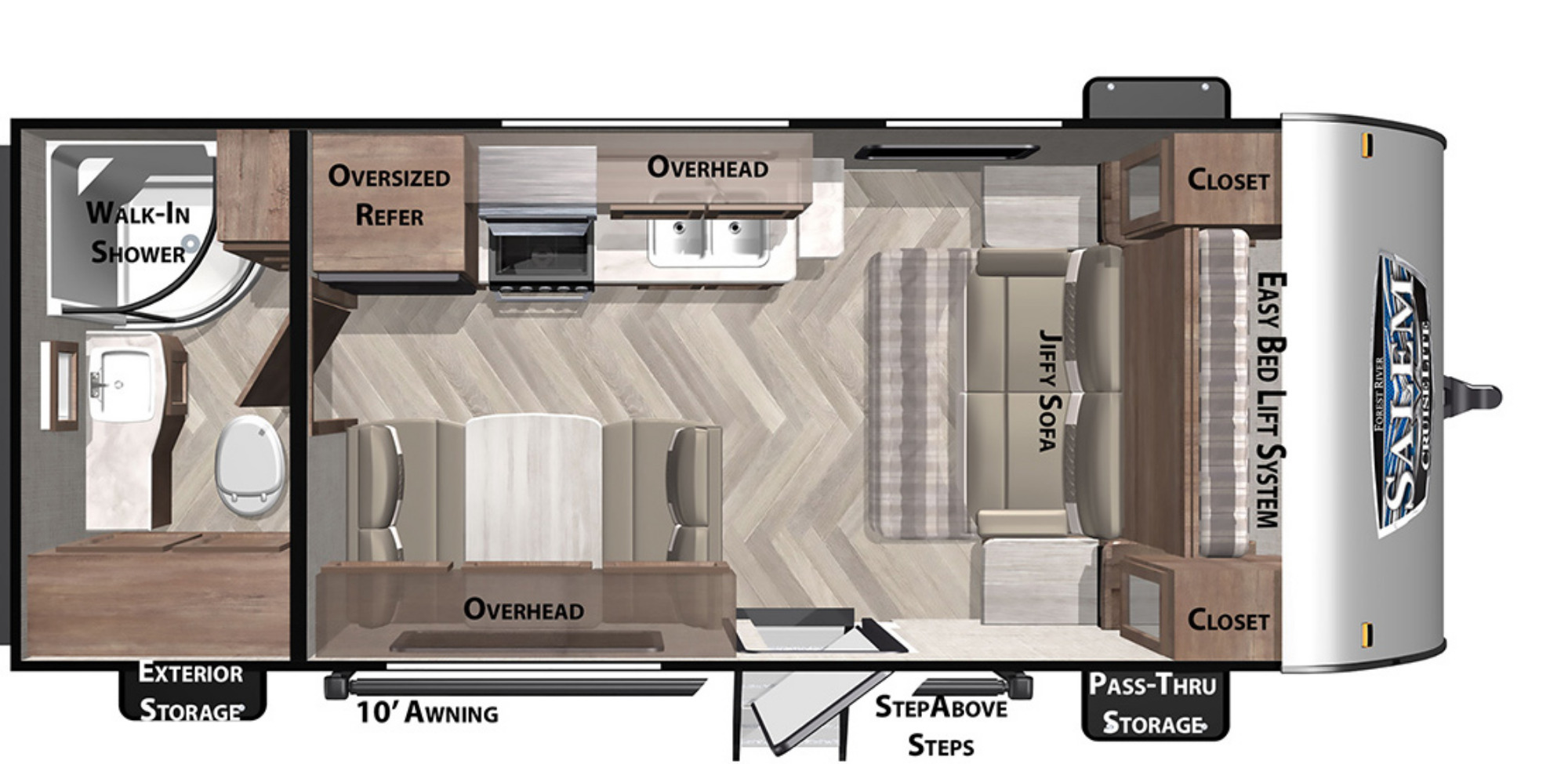 View Floor Plan for 2021 FOREST RIVER SALEM CRUISE LITE 171RBXL