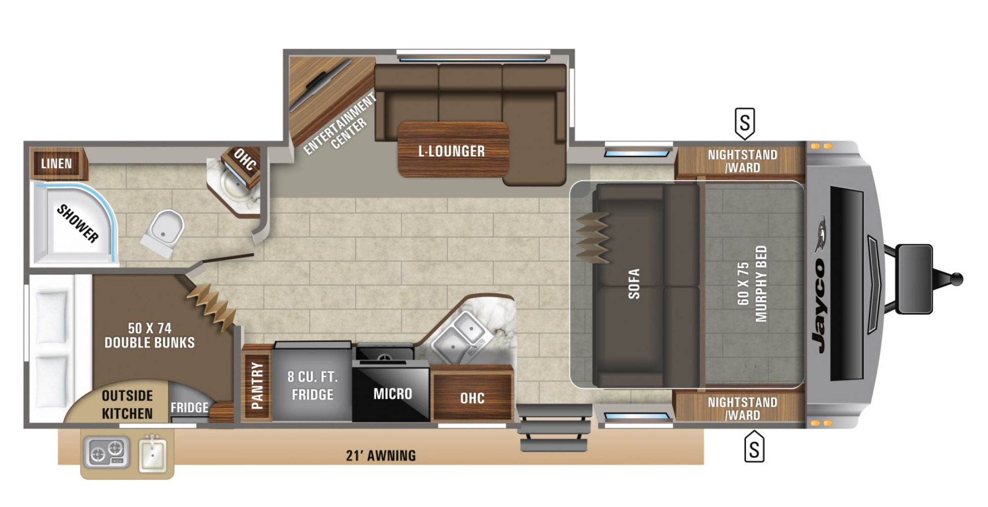 View Floor Plan for 2021 JAYCO WHITE HAWK 24MBH
