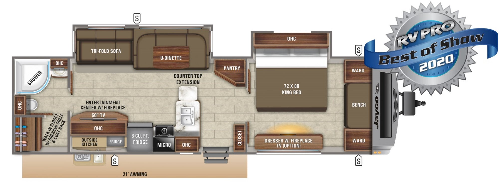 View Floor Plan for 2021 JAYCO WHITE HAWK 32KBS