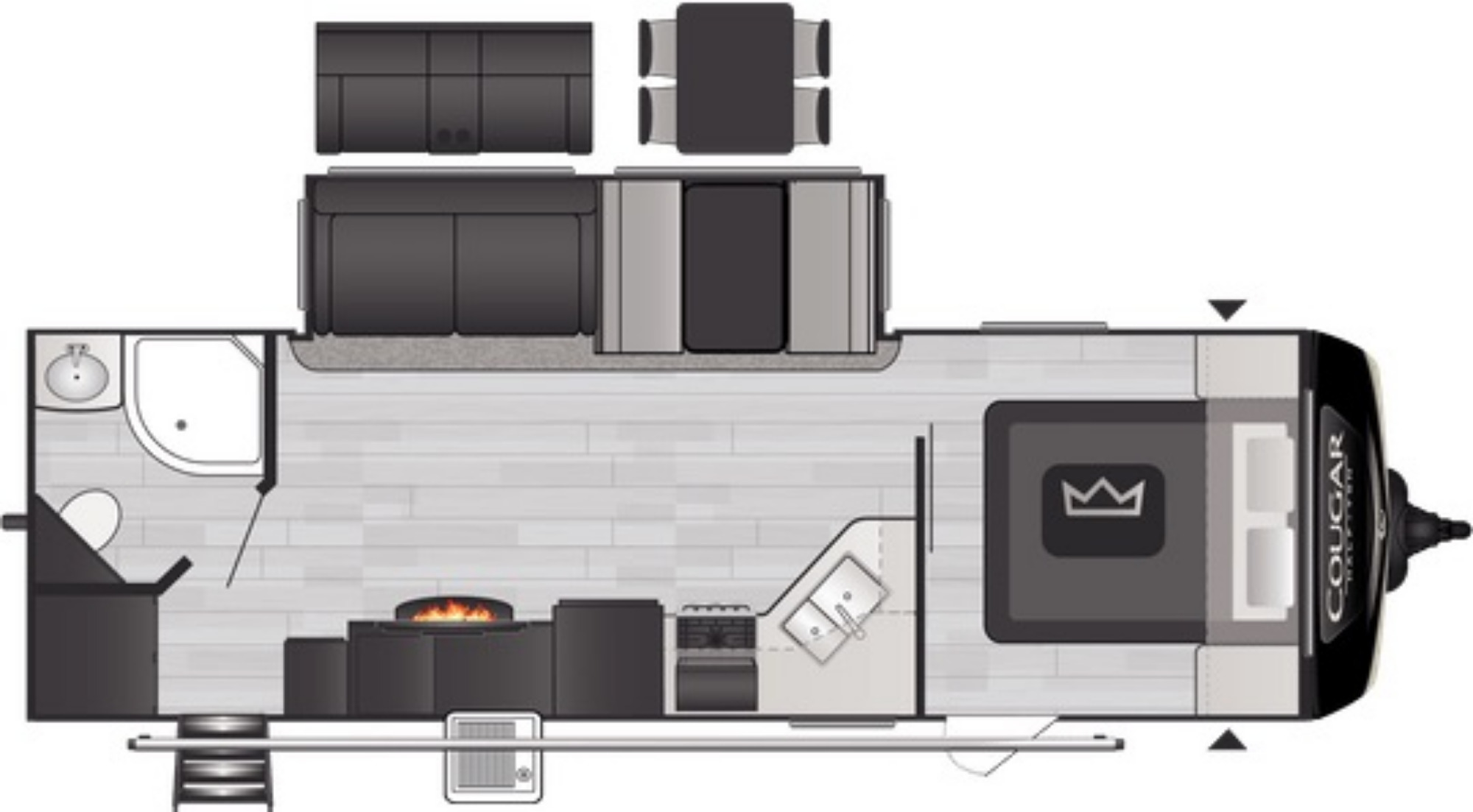 View Floor Plan for 2021 KEYSTONE COUGAR 26RBS