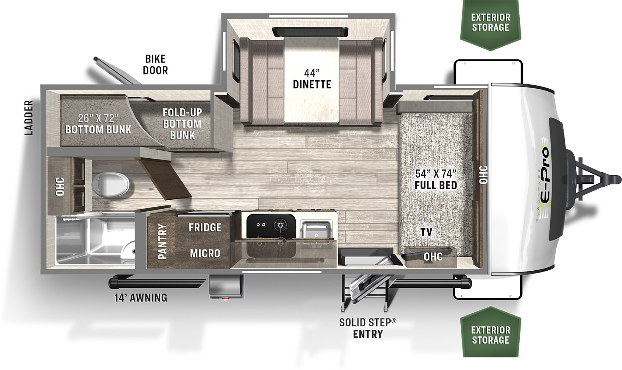 View Floor Plan for 2021 FOREST RIVER FLAGSTAFF E-PRO 20BHS