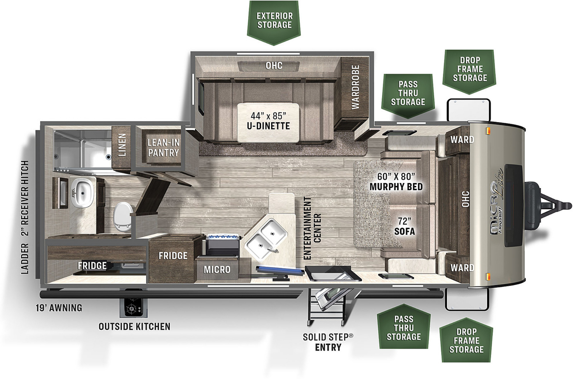 View Floor Plan for 2021 FOREST RIVER FLAGSTAFF MICRO LITE 25BDS