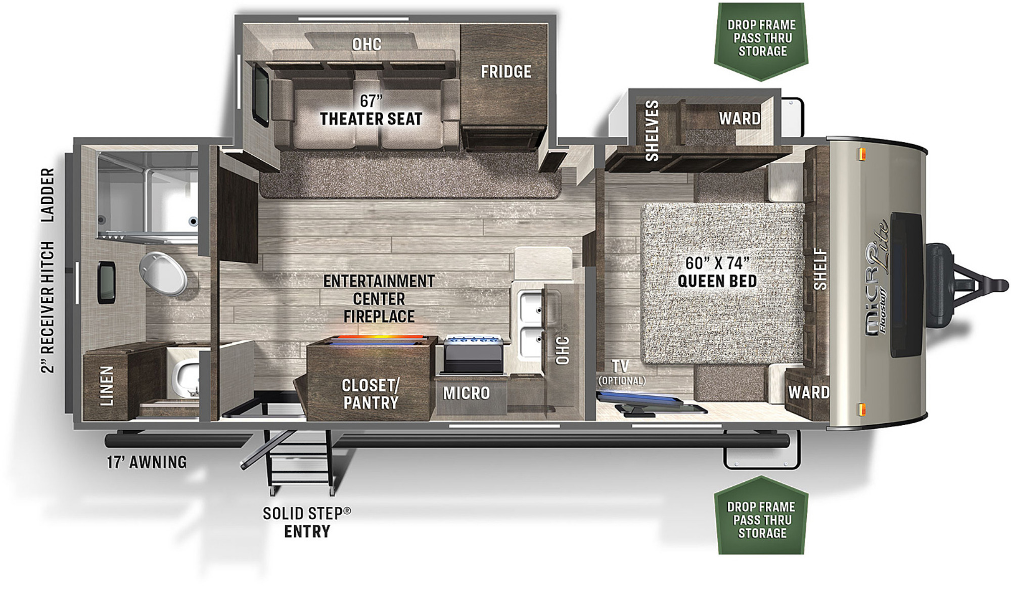 View Floor Plan for 2021 FOREST RIVER FLAGSTAFF MICRO LITE 25FBLS