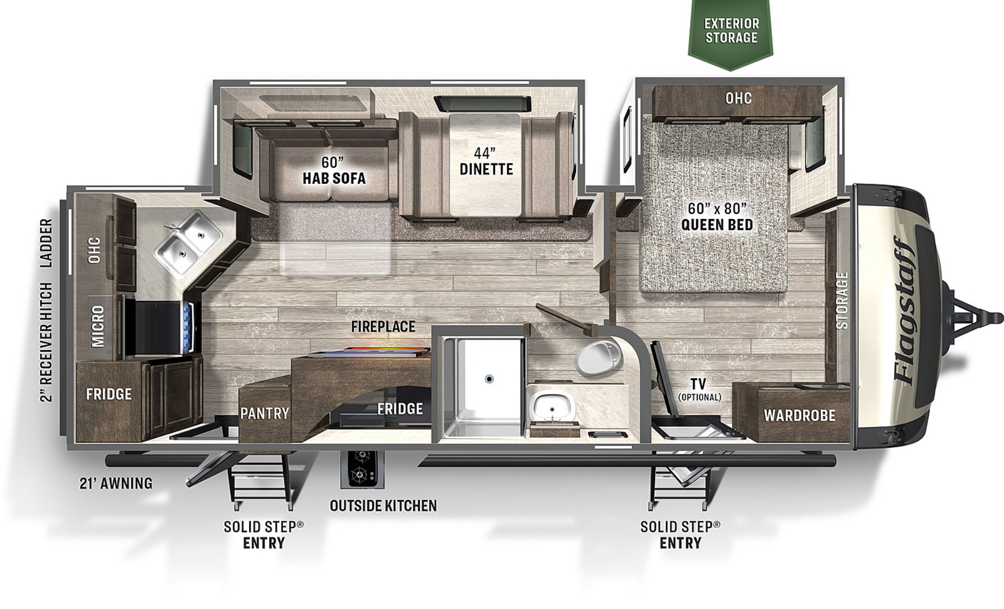 View Floor Plan for 2021 FOREST RIVER FLAGSTAFF SUPER LITE 26RKBS