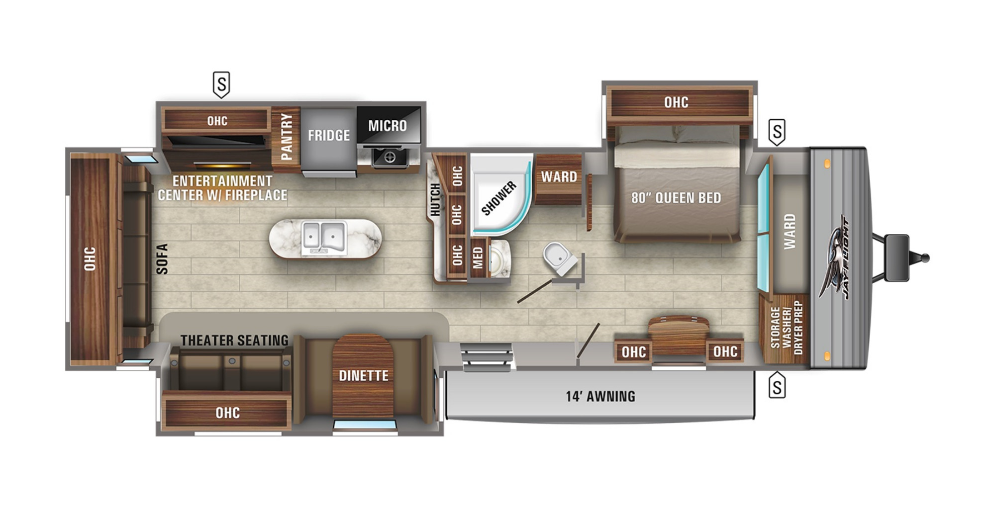 View Floor Plan for 2021 JAYCO JAY FLIGHT 34RSBS