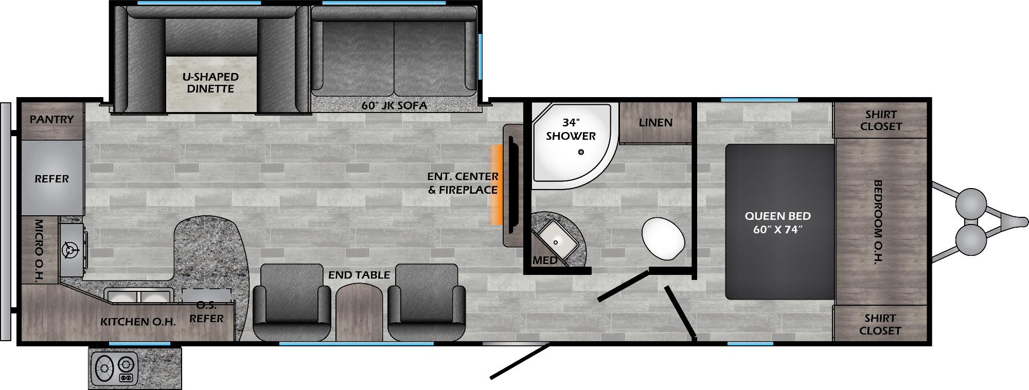 View Floor Plan for 2021 CROSSROADS ZINGER 280RK