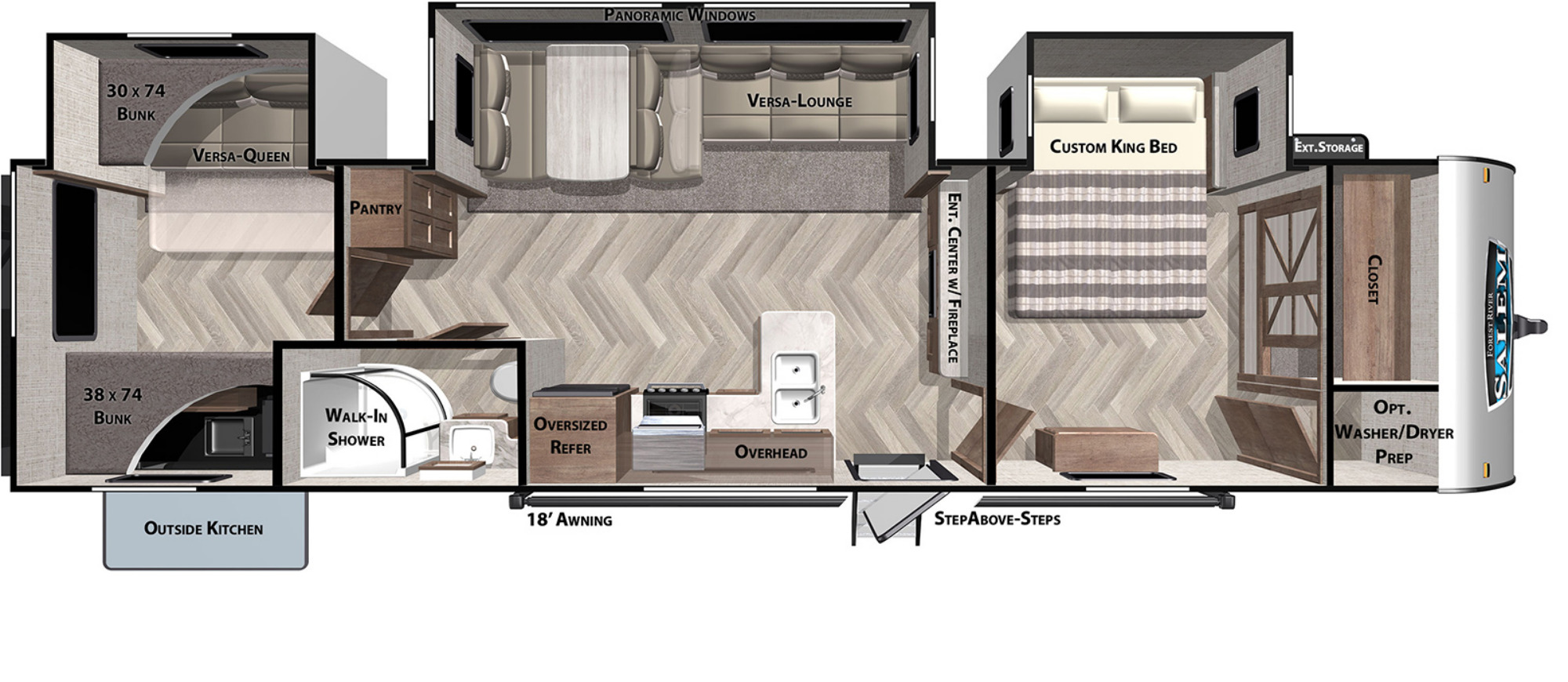 View Floor Plan for 2021 FOREST RIVER SALEM 33TS