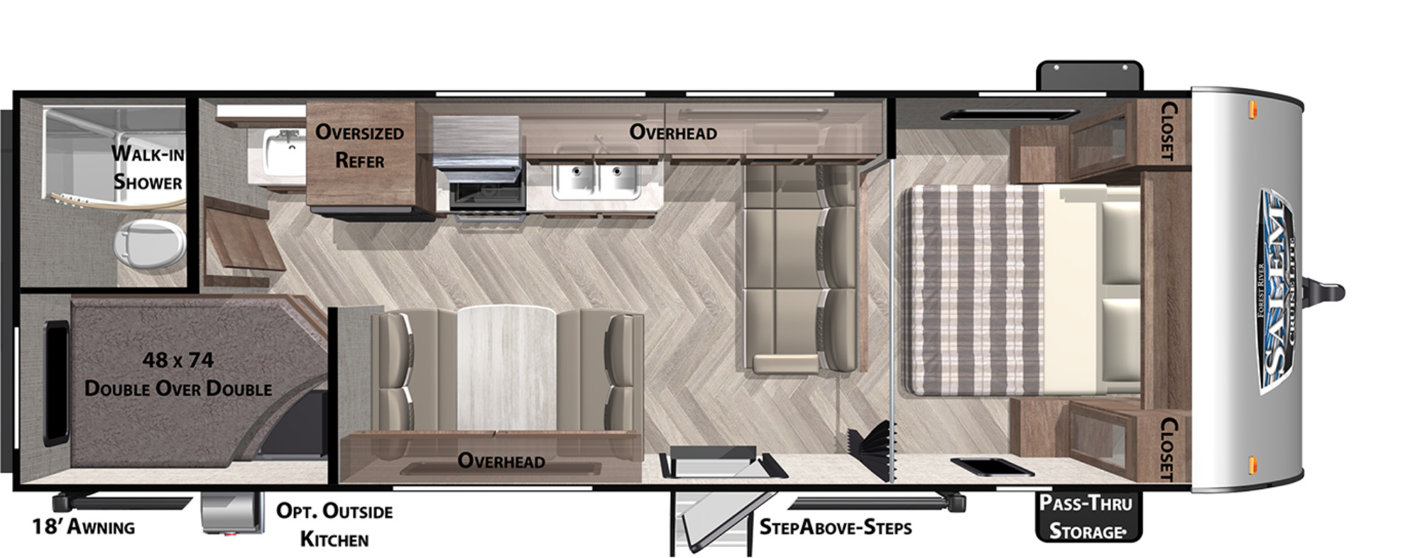 View Floor Plan for 2021 FOREST RIVER SALEM CRUISE LITE 261BHXL