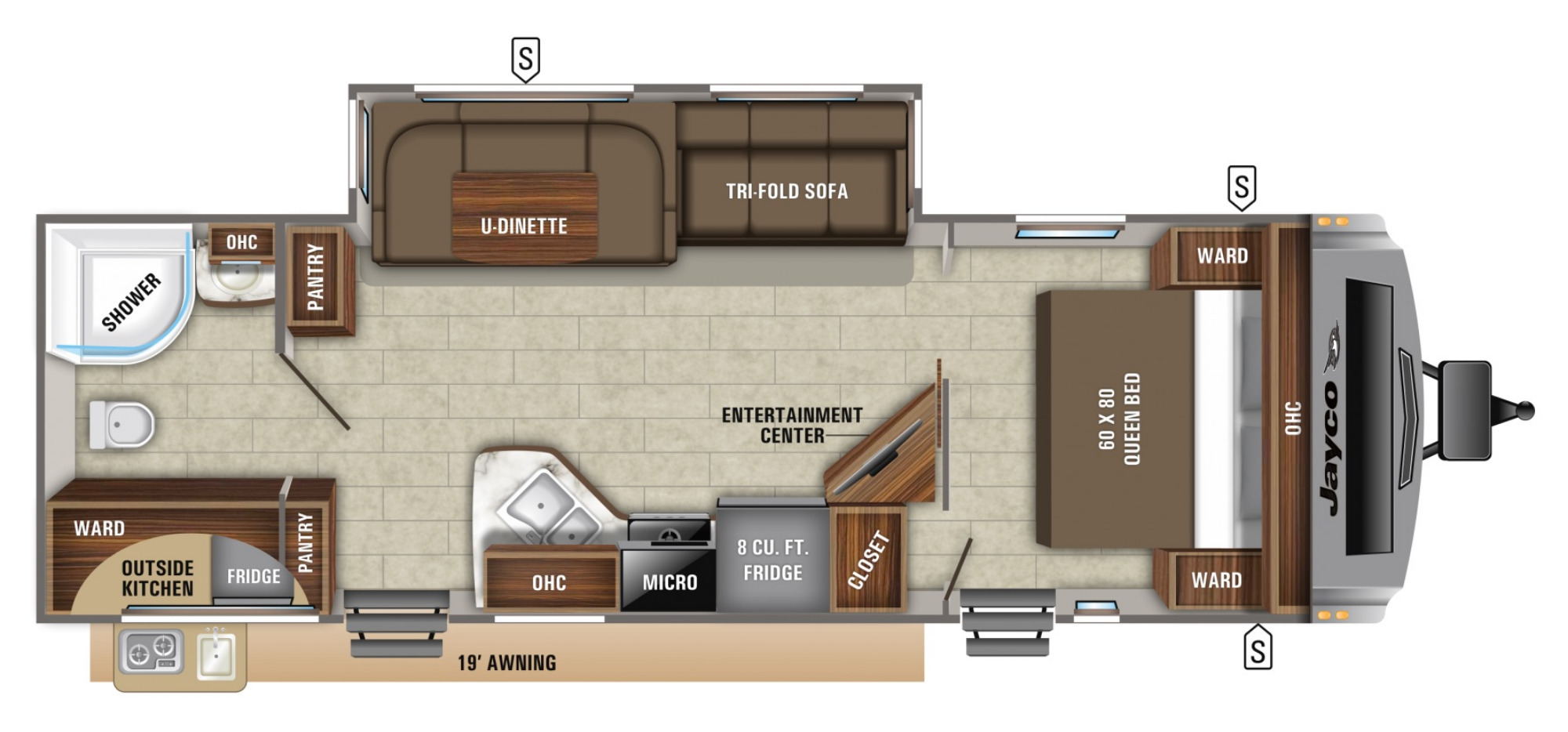 View Floor Plan for 2021 JAYCO WHITE HAWK 27RB