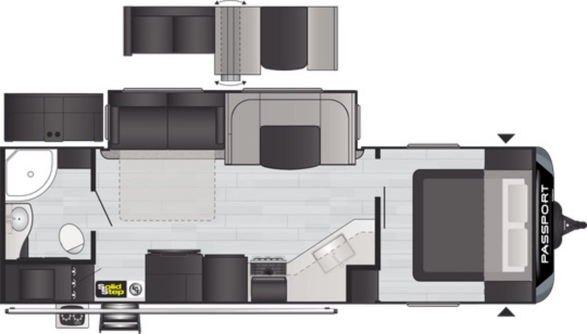 View Floor Plan for 2021 KEYSTONE PASSPORT 2710RB