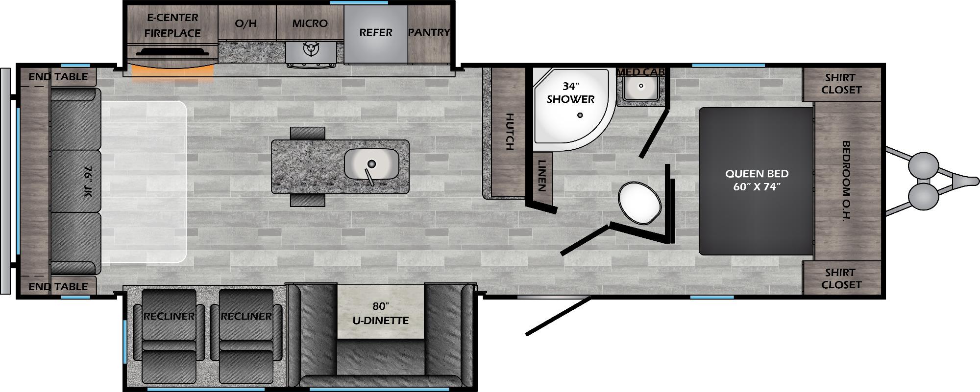 View Floor Plan for 2021 CROSSROADS ZINGER 292RE