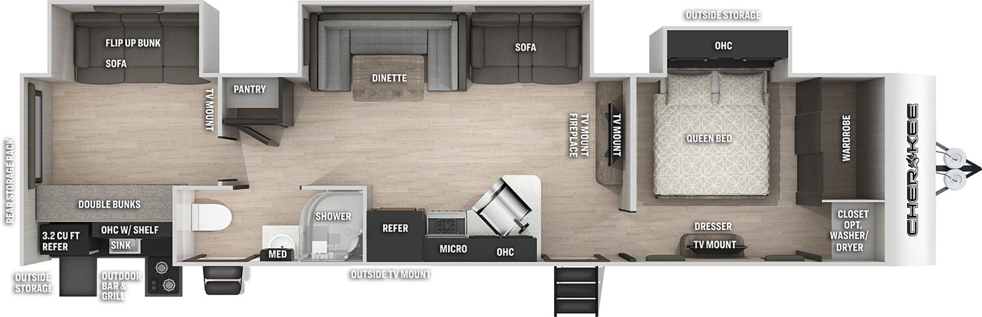 View Floor Plan for 2021 FOREST RIVER CHEROKEE 324TS