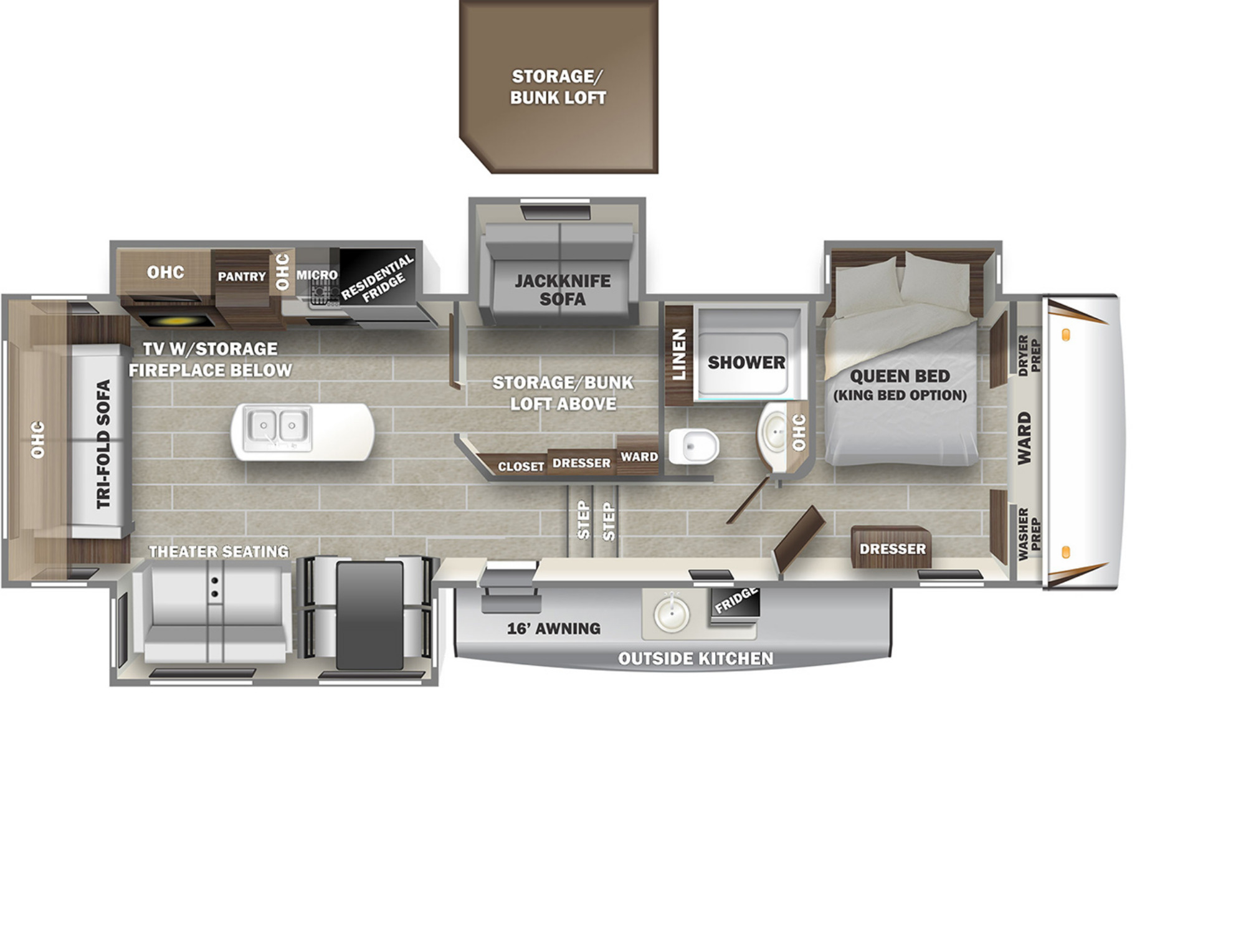 View Floor Plan for 2021 FOREST RIVER SABRE 36BHQ