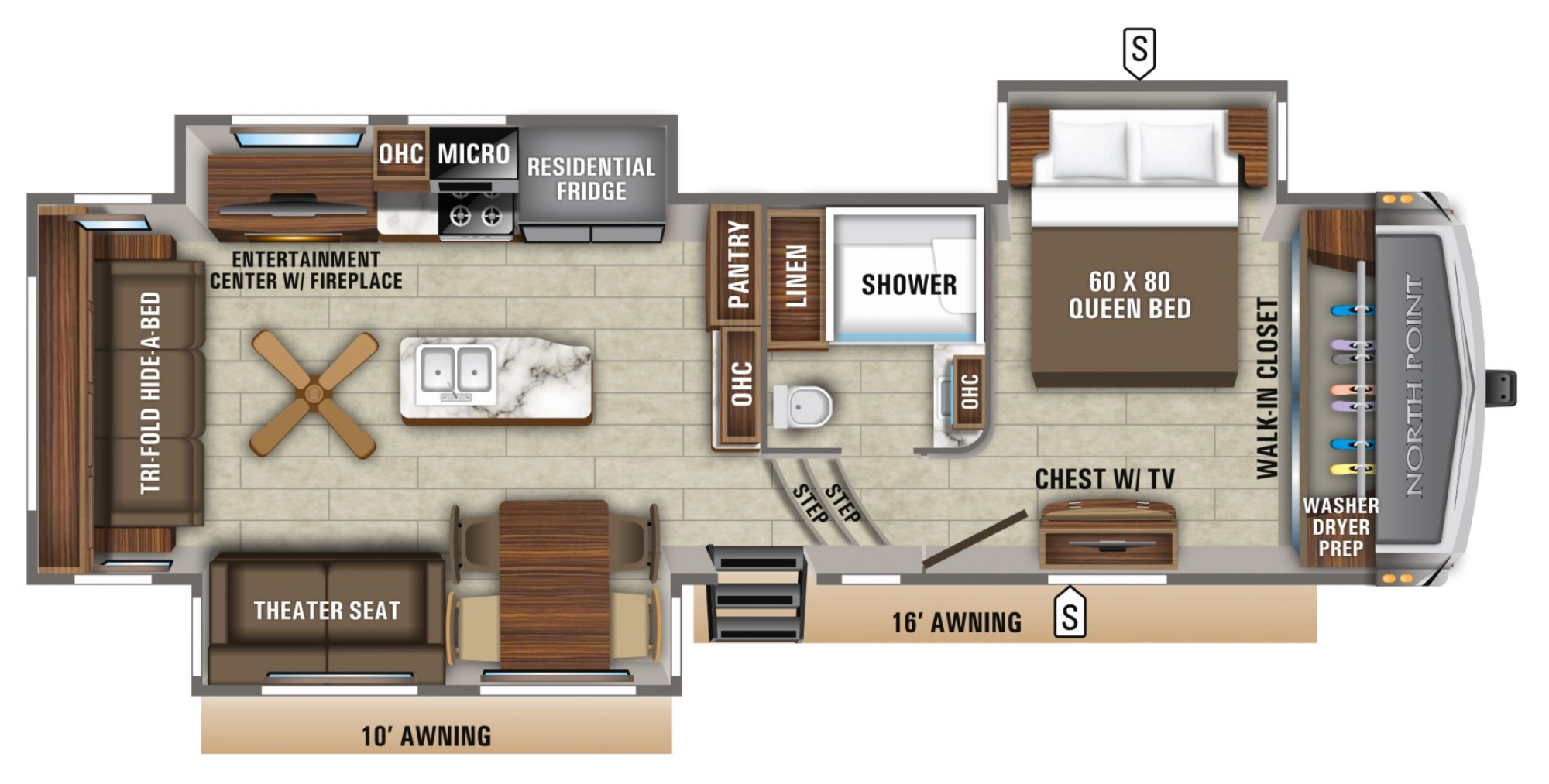 View Floor Plan for 2021 JAYCO NORTH POINT 310RLTS